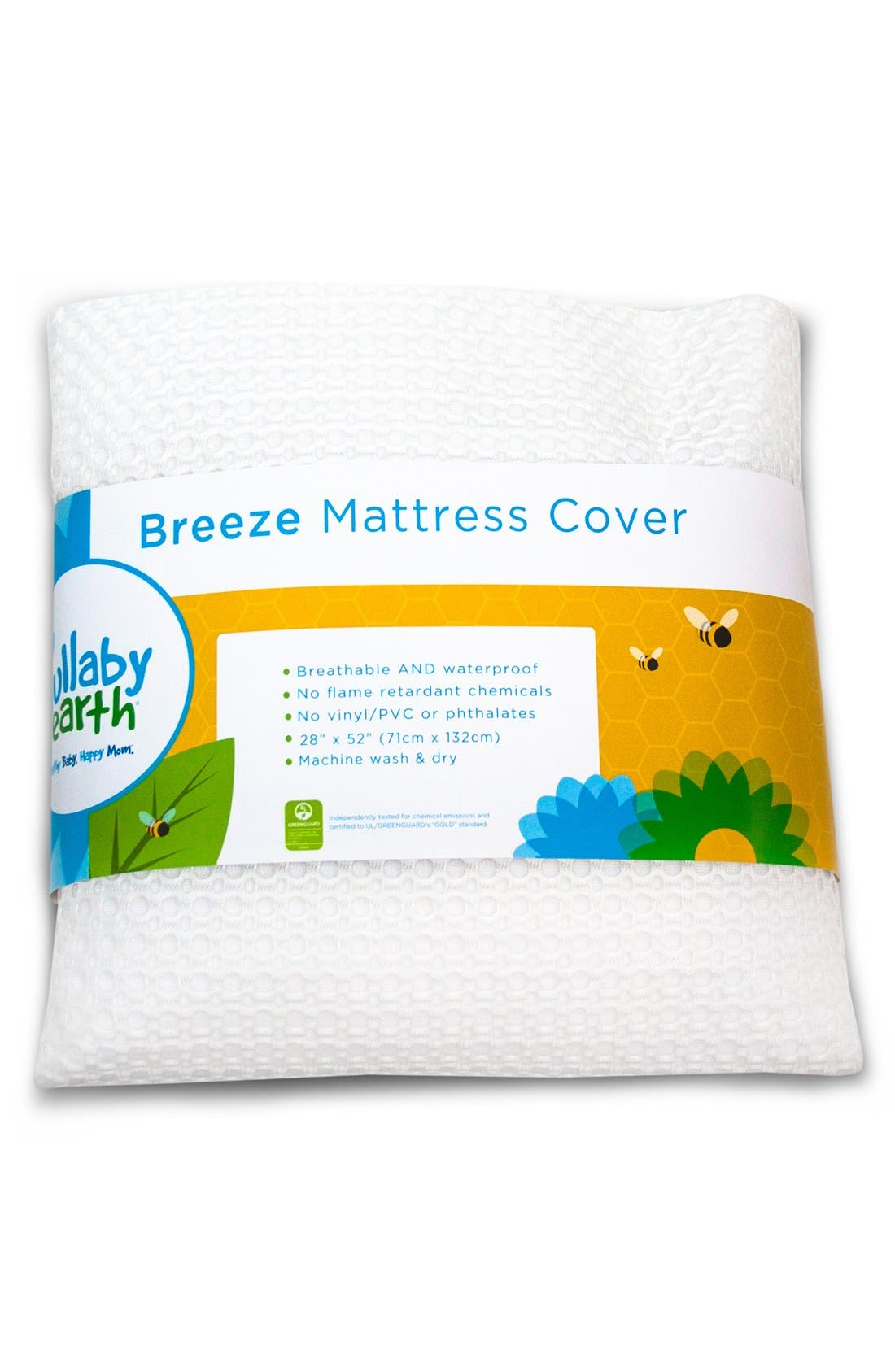 'Breeze' Waterproof Crib Mattress Cover,                             Main thumbnail 1, color,                             White