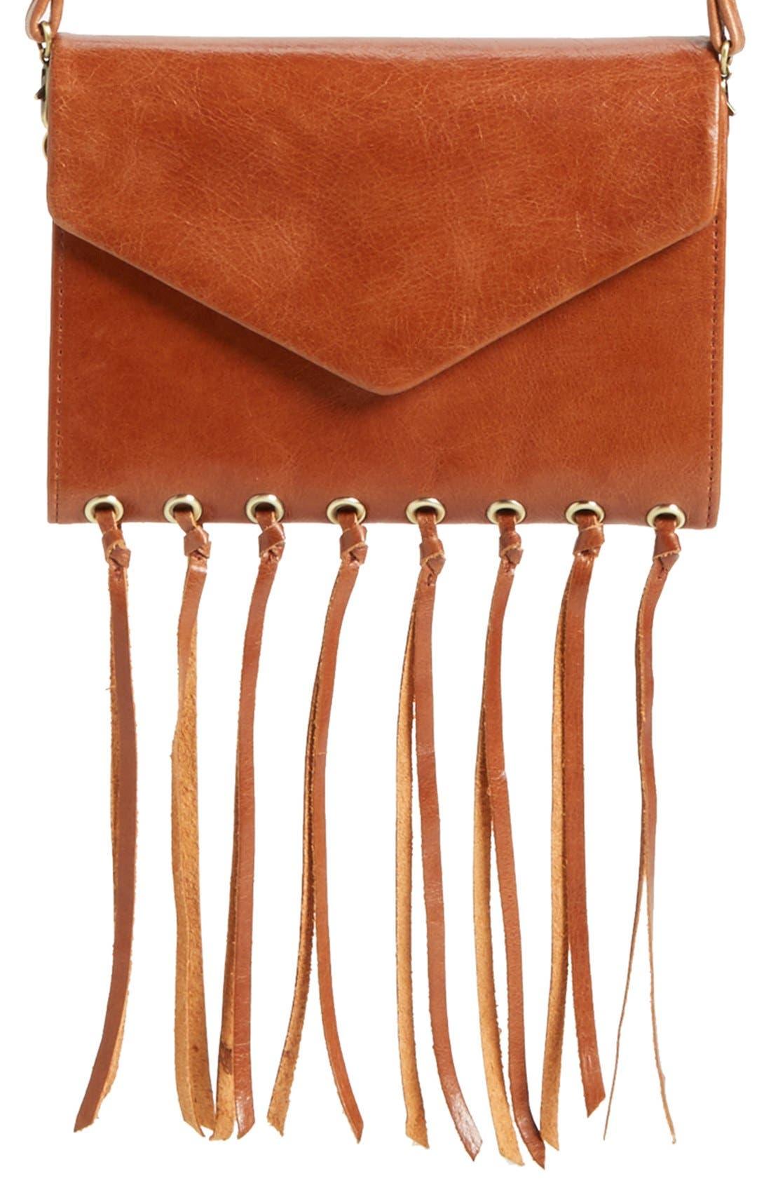 Main Image - Hobo 'Maisy' Glazed Leather Fringe Crossbody Bag