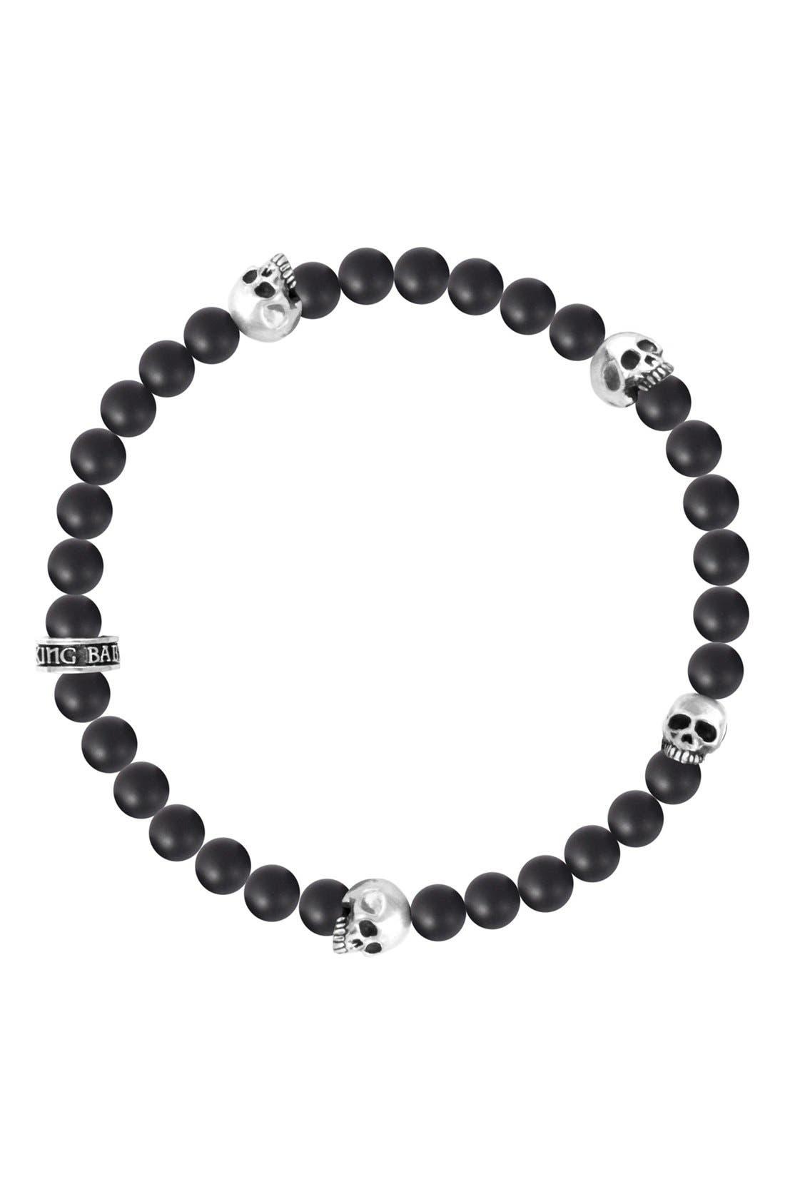 KING BABY Onyx & Skull Bead Bracelet