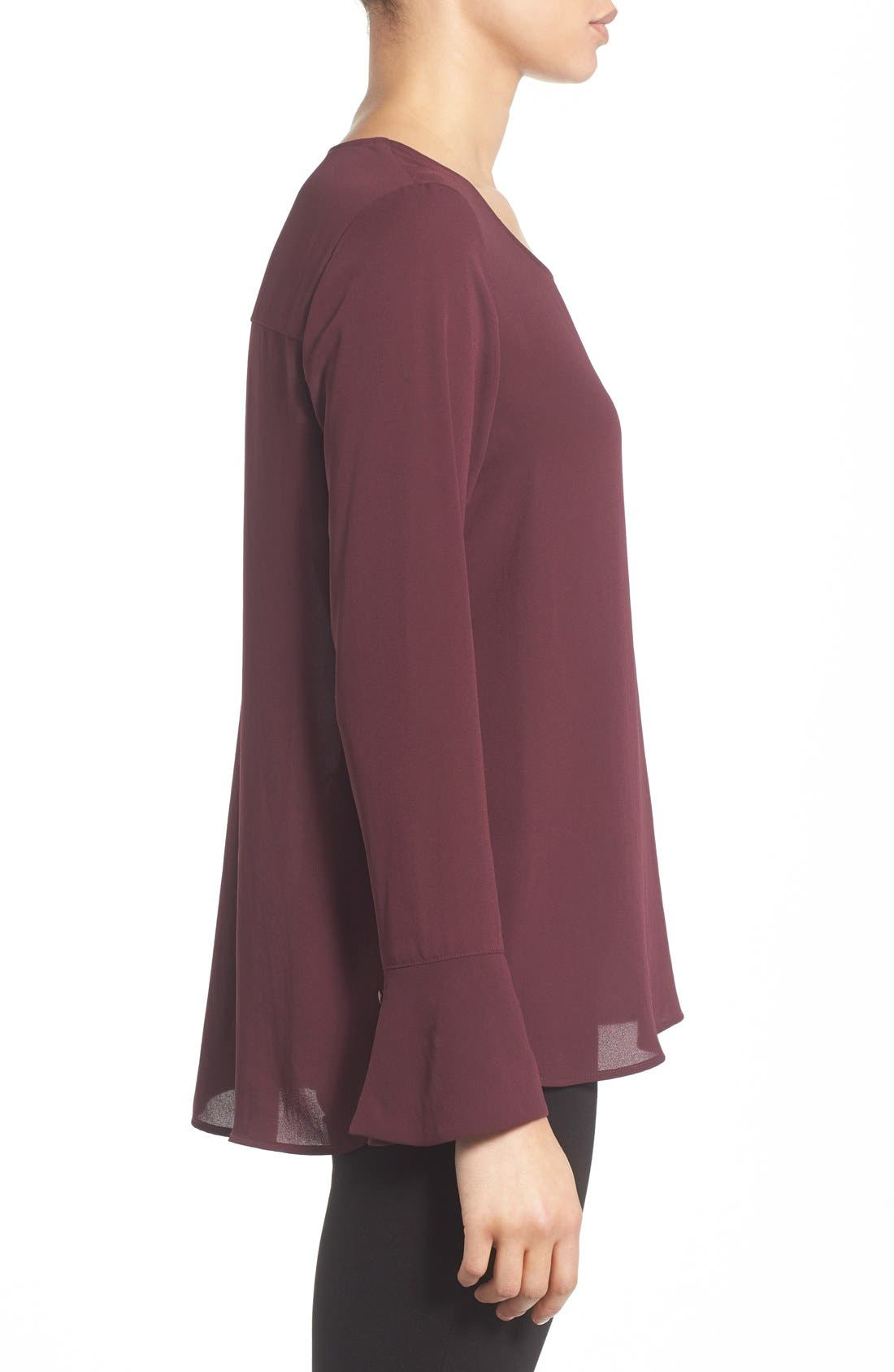 Bell Cuff High/Low Blouse,                             Alternate thumbnail 3, color,                             Burgundy Stem