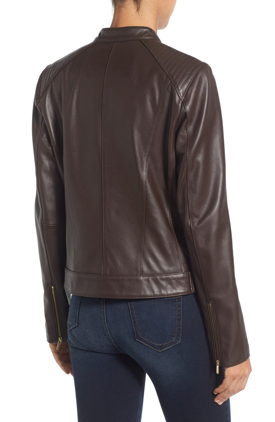 Alternate Image 2  - Cole Haan Leather Moto Jacket (Regular & Petite)
