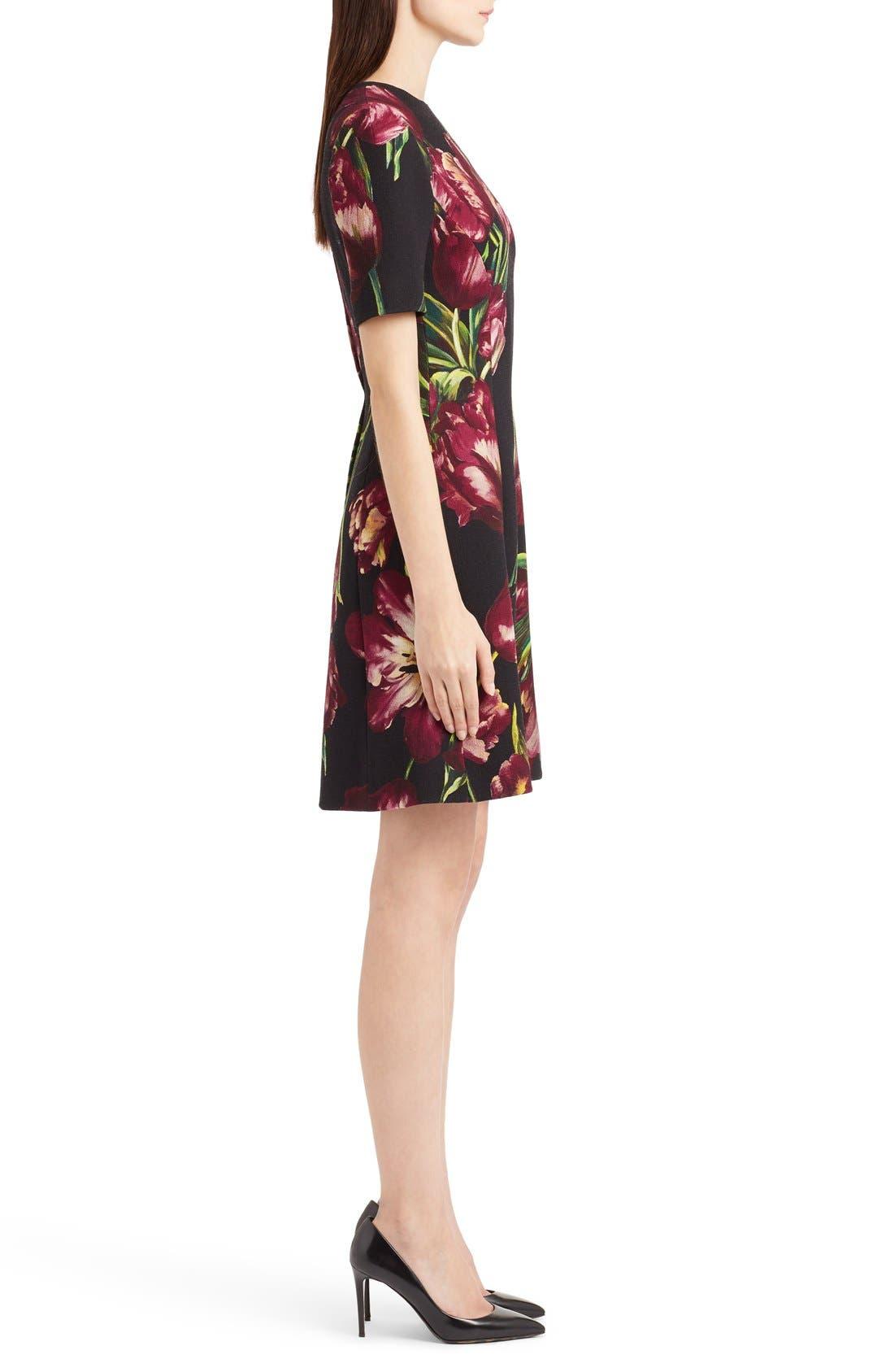 Alternate Image 4  - Dolce&Gabbana Tulip Print Wool A-Line Dress