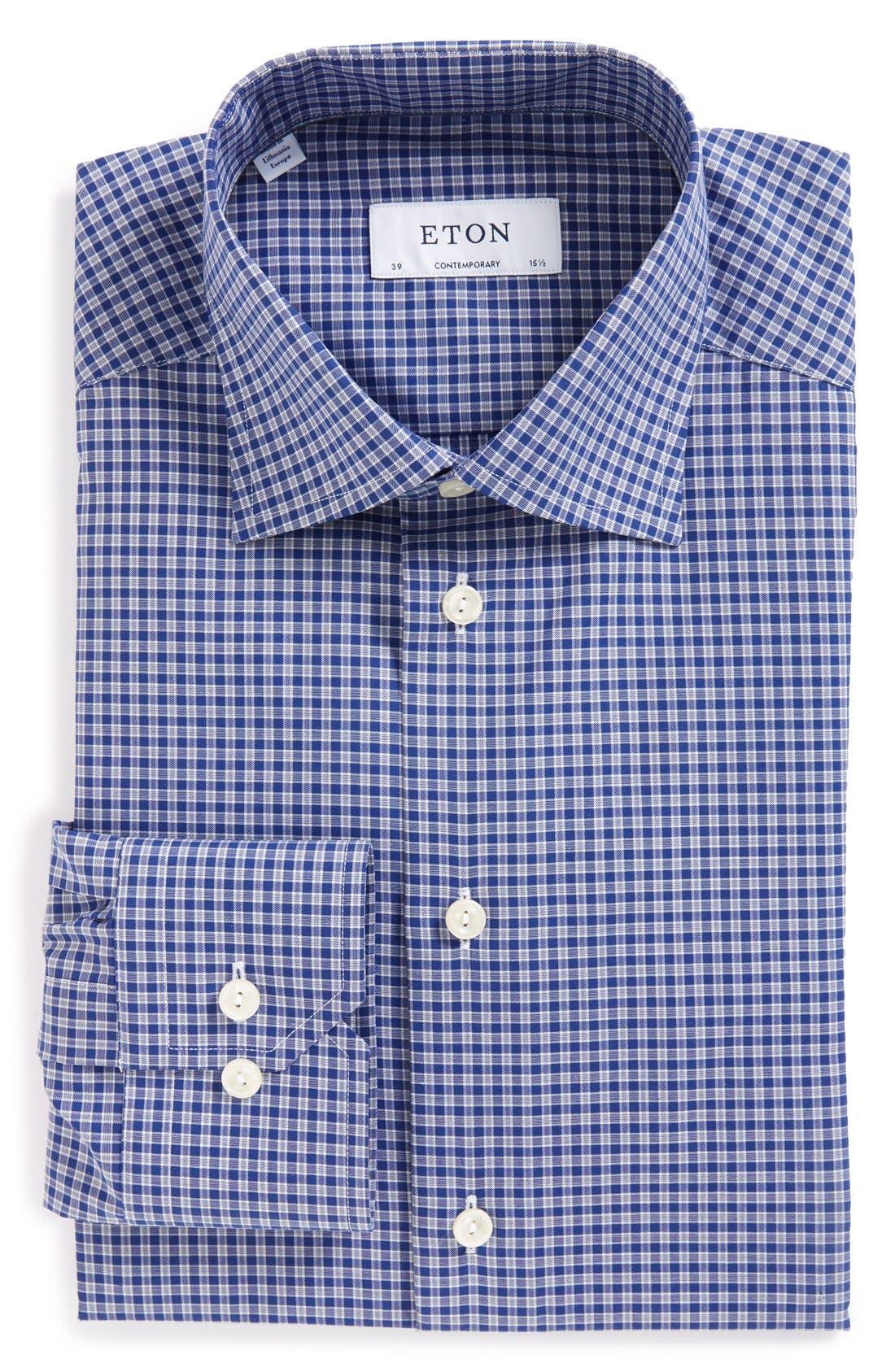 Main Image - Eton Contemporary Fit Check Dress Shirt