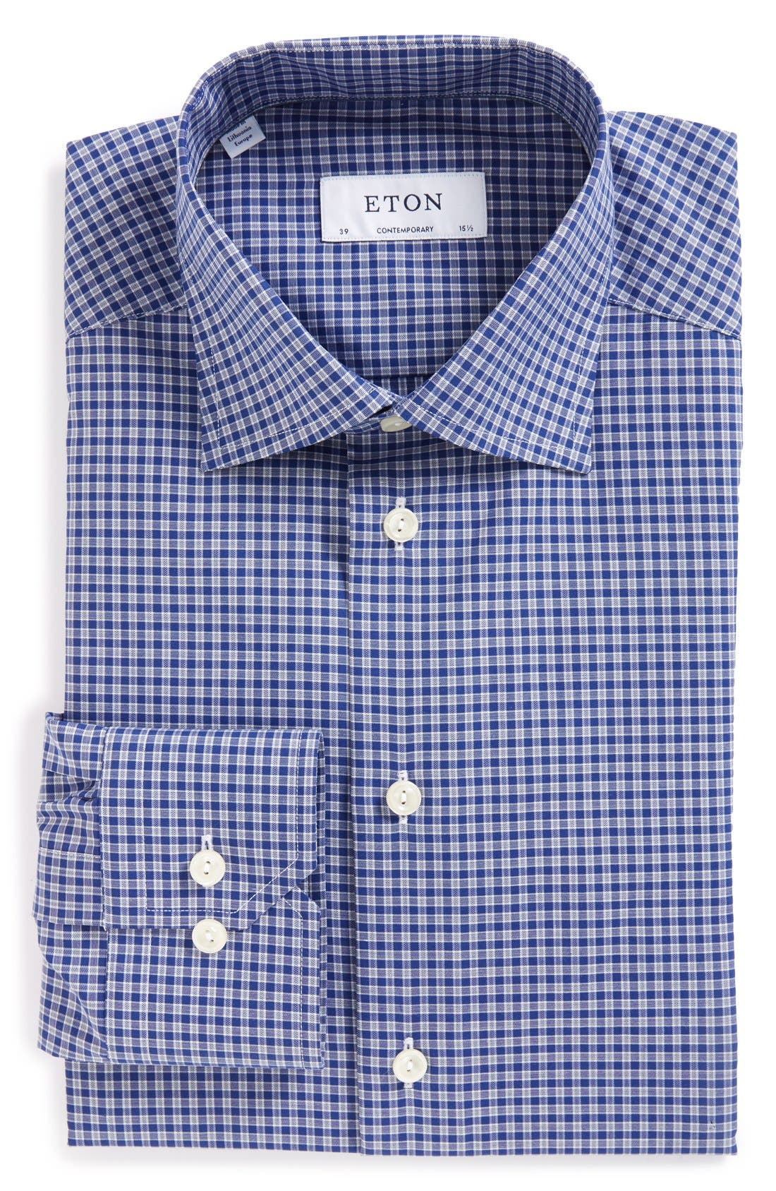 Contemporary Fit Check Dress Shirt,                         Main,                         color, Mid Blue