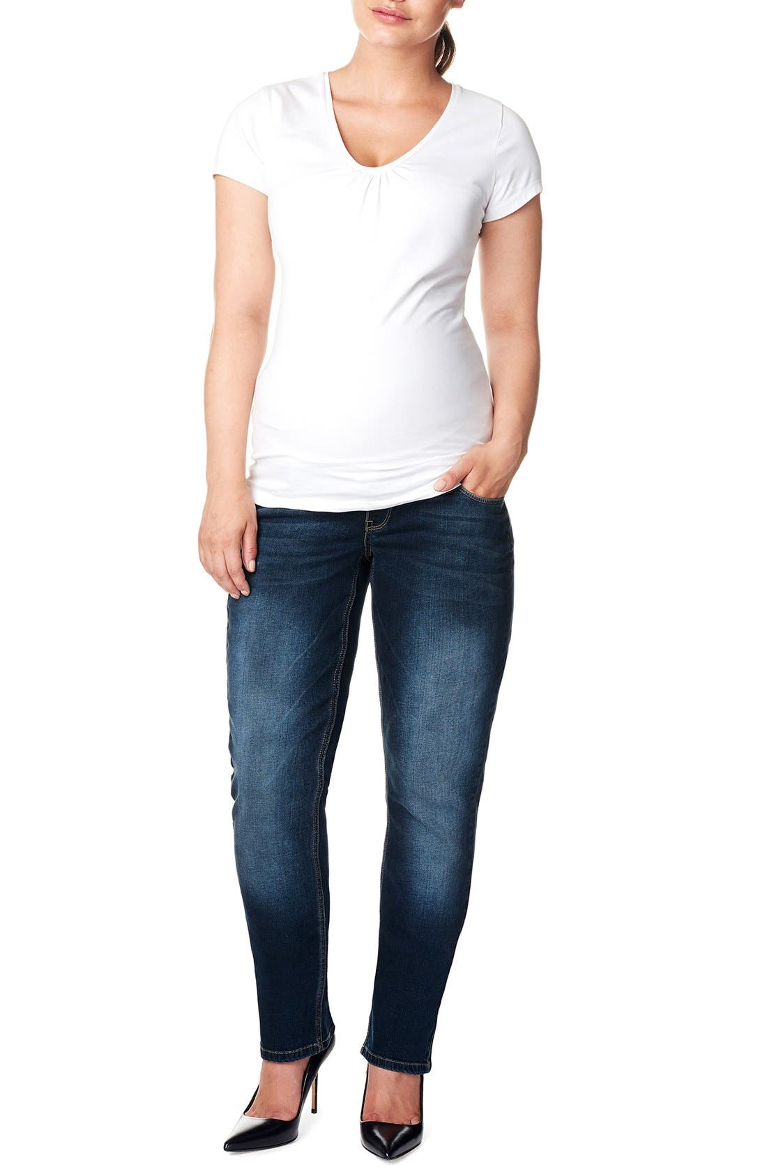 Main Image - Noppies 'Mena Comfort' Over the Belly Straight Leg Maternity Jeans (Plus Size)
