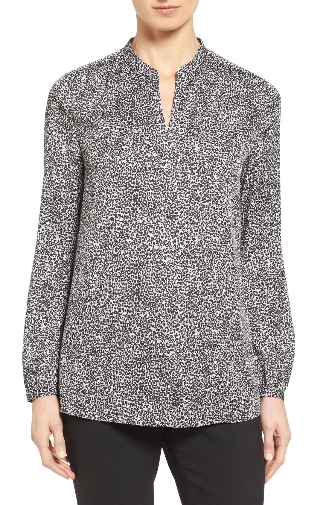 Main Image - Nordstrom Collection Split Neck Print Stretch Silk Blouse