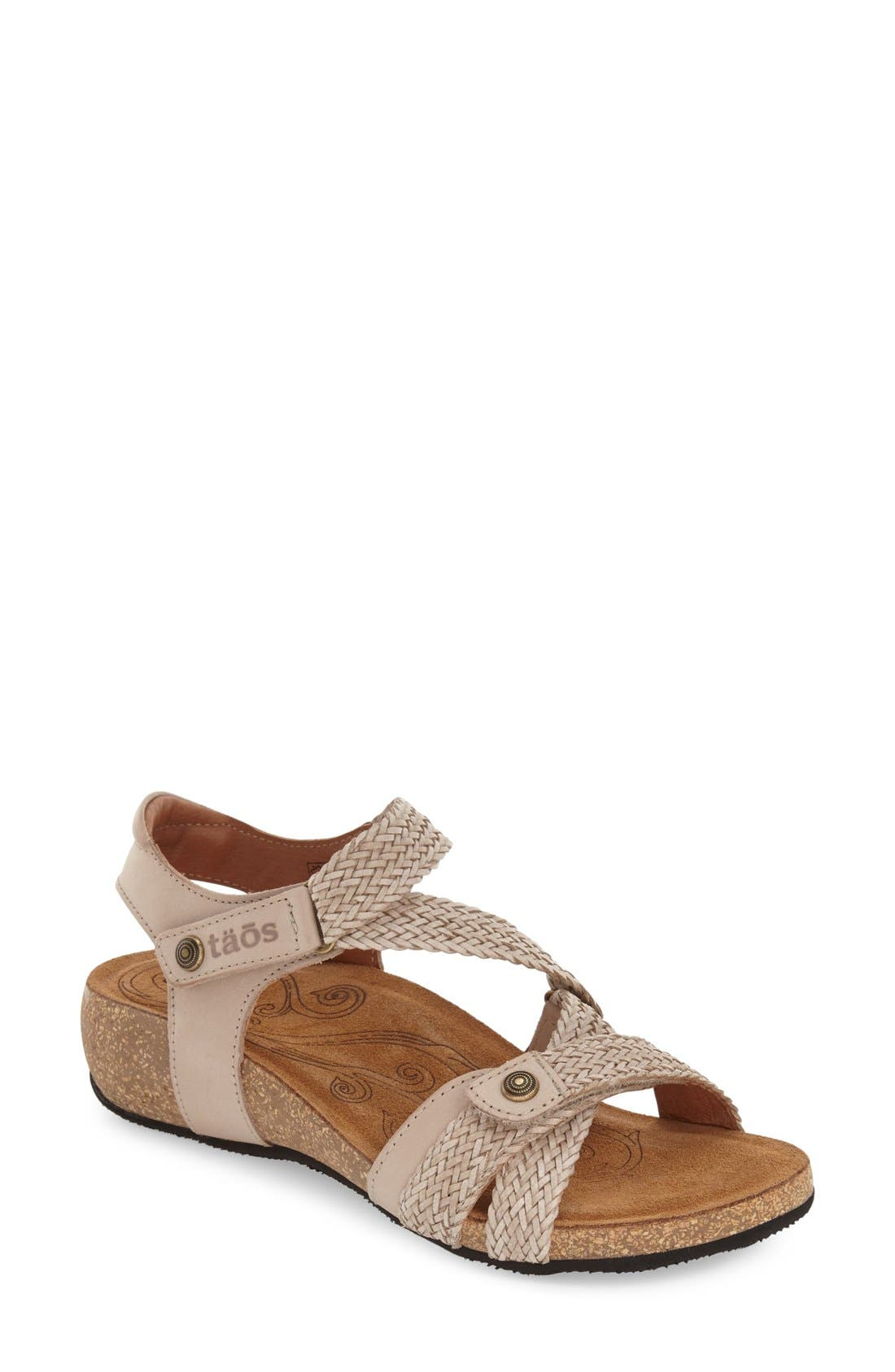 'Trulie' Wedge Sandal,                             Main thumbnail 1, color,                             Stone Leather