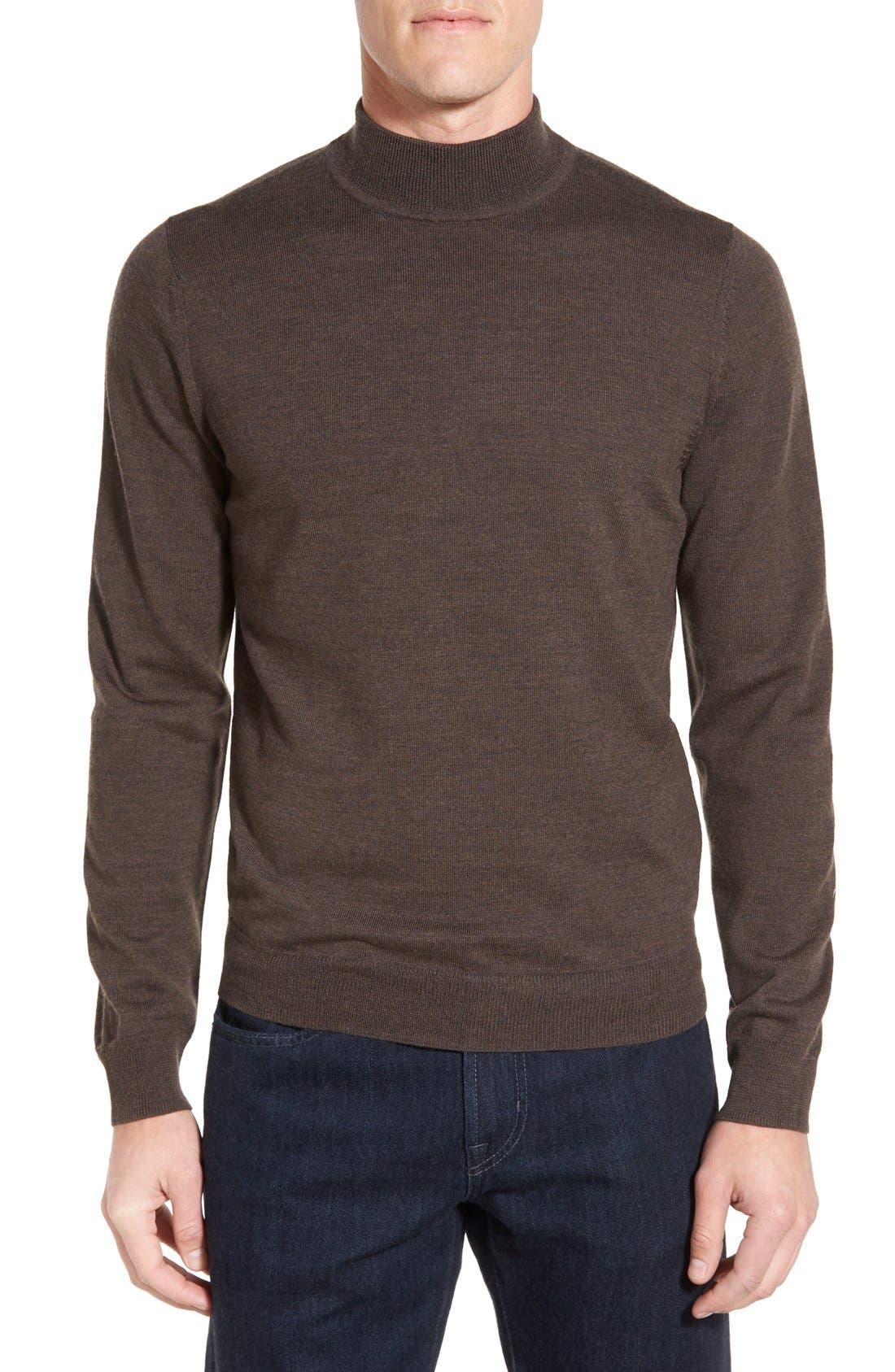 Main Image - Nordstrom Mock Neck Merino Wool Sweater (Regular & Tall)