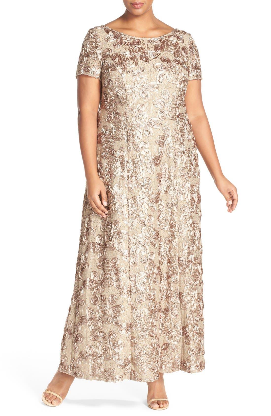 Rosette Lace Short Sleeve A-Line Gown,                             Main thumbnail 1, color,                             Champagne