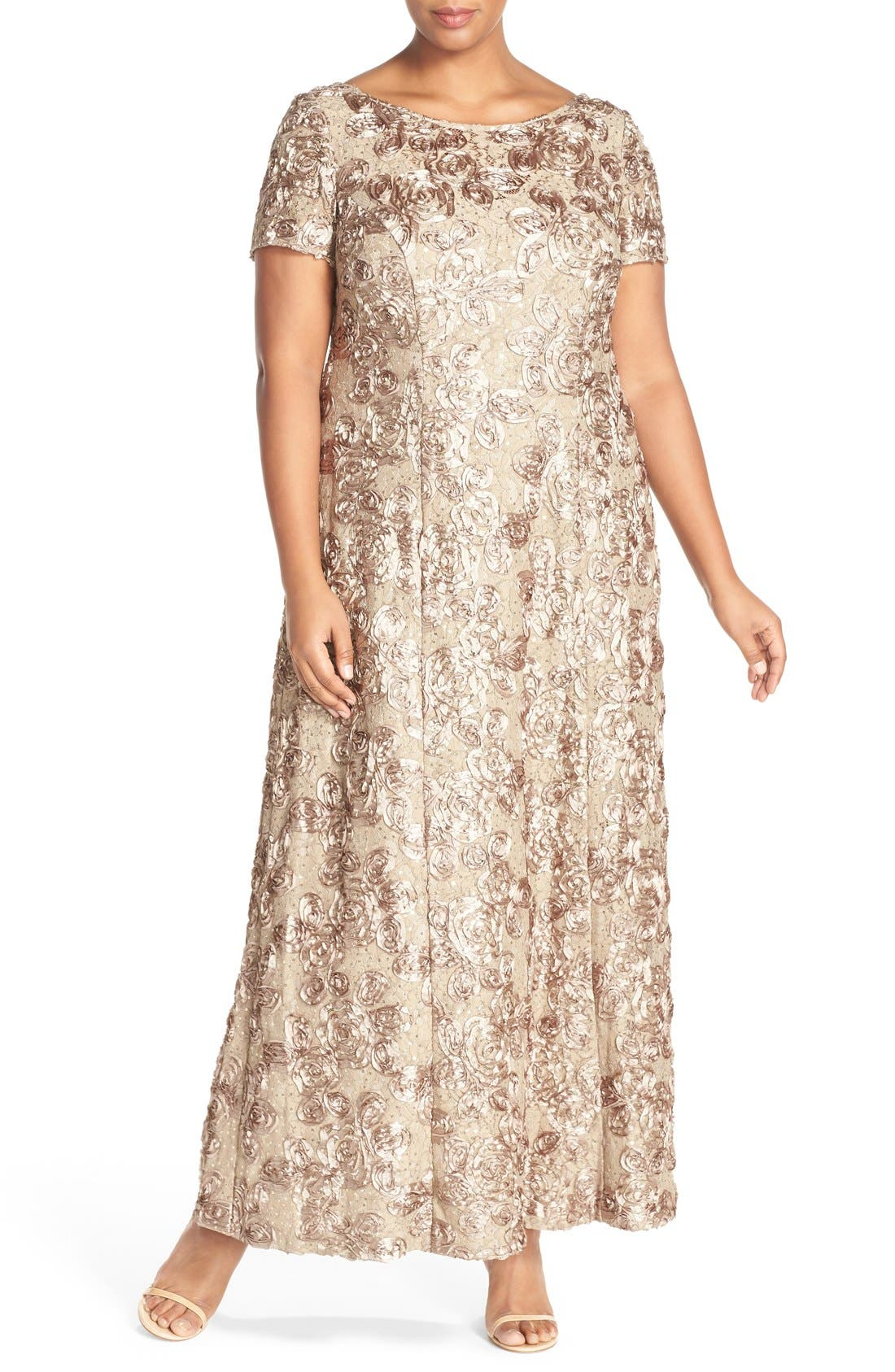 Rosette Lace Short Sleeve A-Line Gown,                         Main,                         color, Champagne
