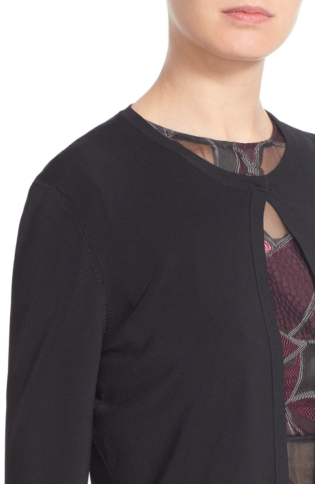 Cropped Knit Cardigan,                             Alternate thumbnail 6, color,                             Black