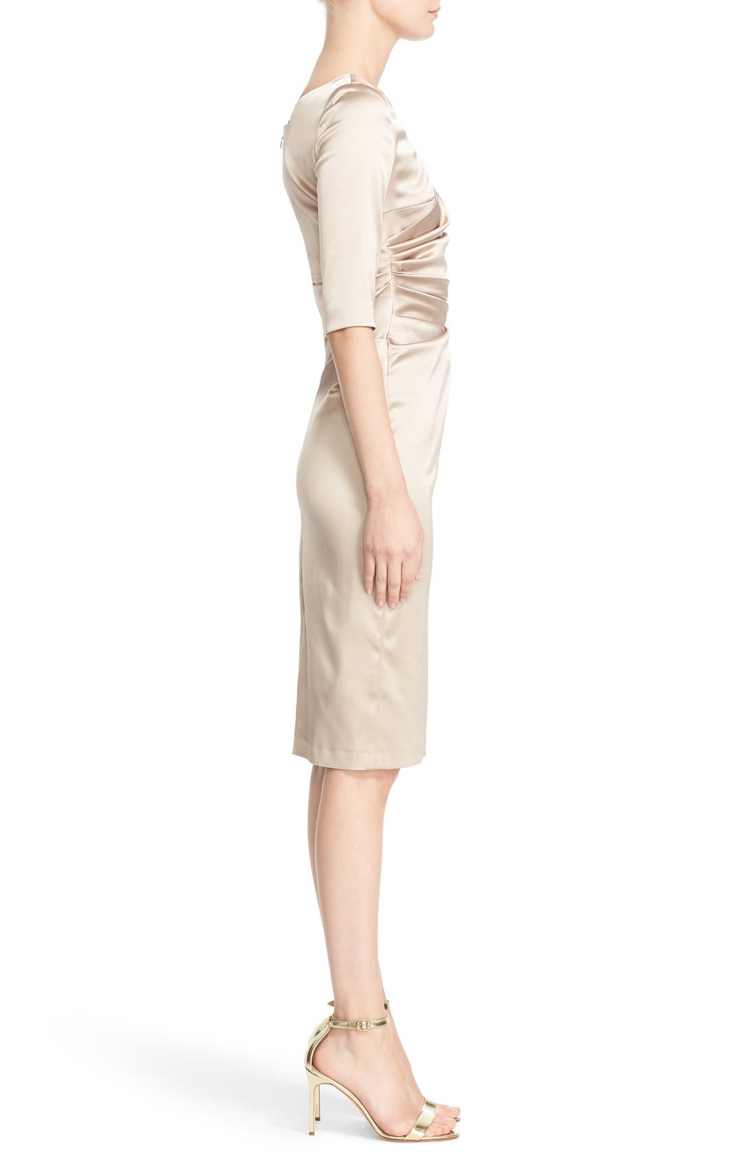 Portrait Neck Stretch Satin Sheath Dess,                             Alternate thumbnail 4, color,                             Beige