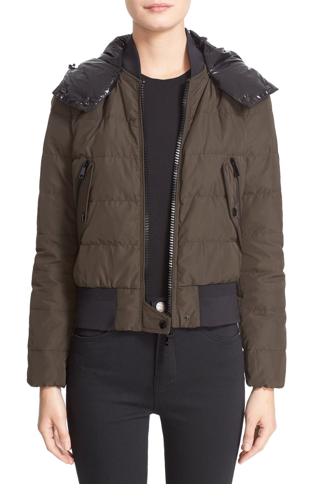 'Agathe' Water Resistant Hooded Down Jacket,                         Main,                         color, Olive