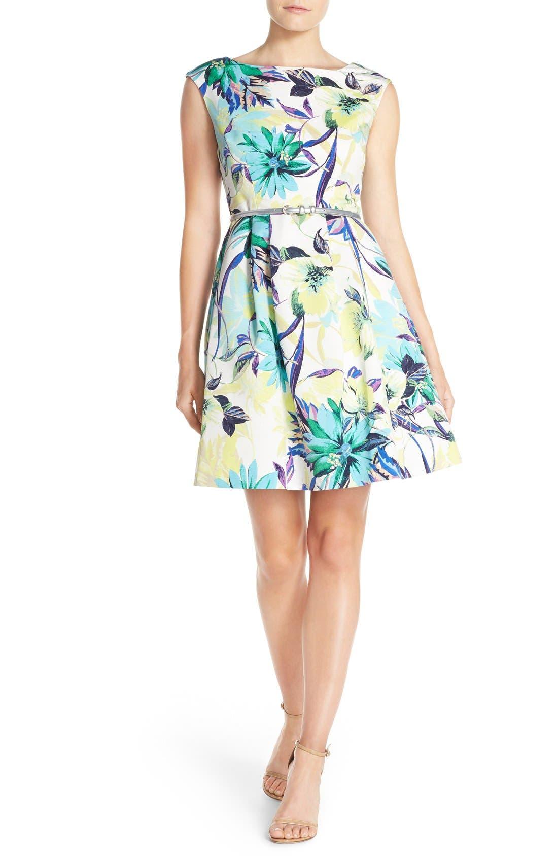 Alternate Image 4  - Eliza J Belted Faille Fit & Flare Dress