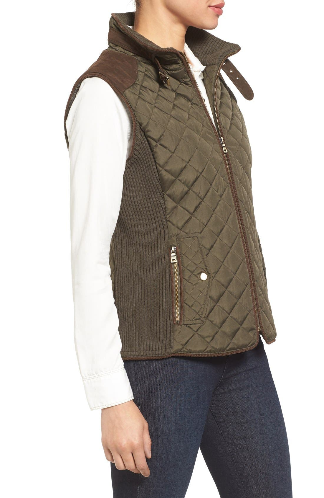 Alternate Image 3  - Gallery Quilted Vest with Faux Suede Trim (Regular & Petite)