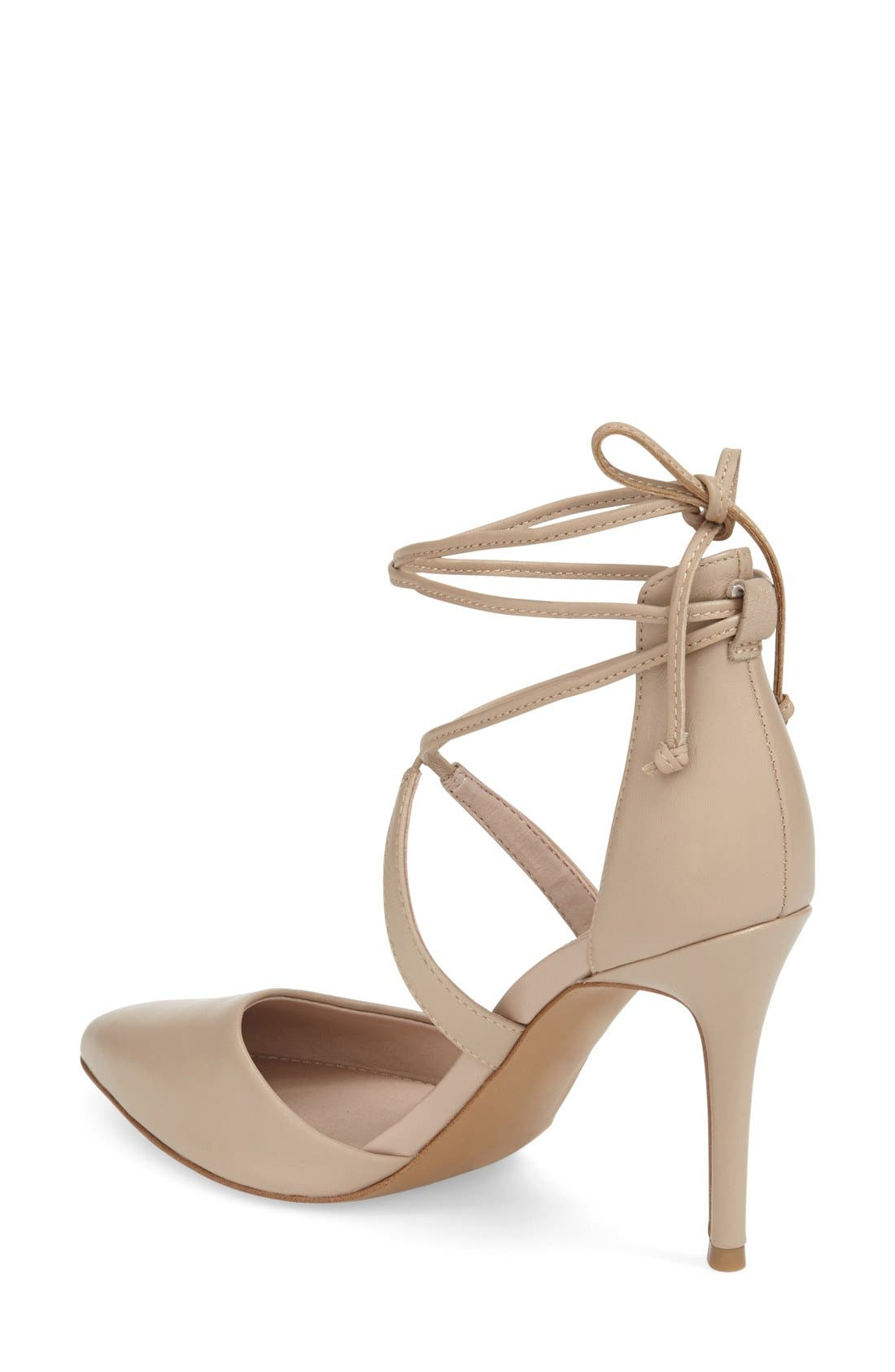 'Elise' d'Orsay Wraparound Lace Pump,                             Alternate thumbnail 2, color,                             Almost Nude Leather