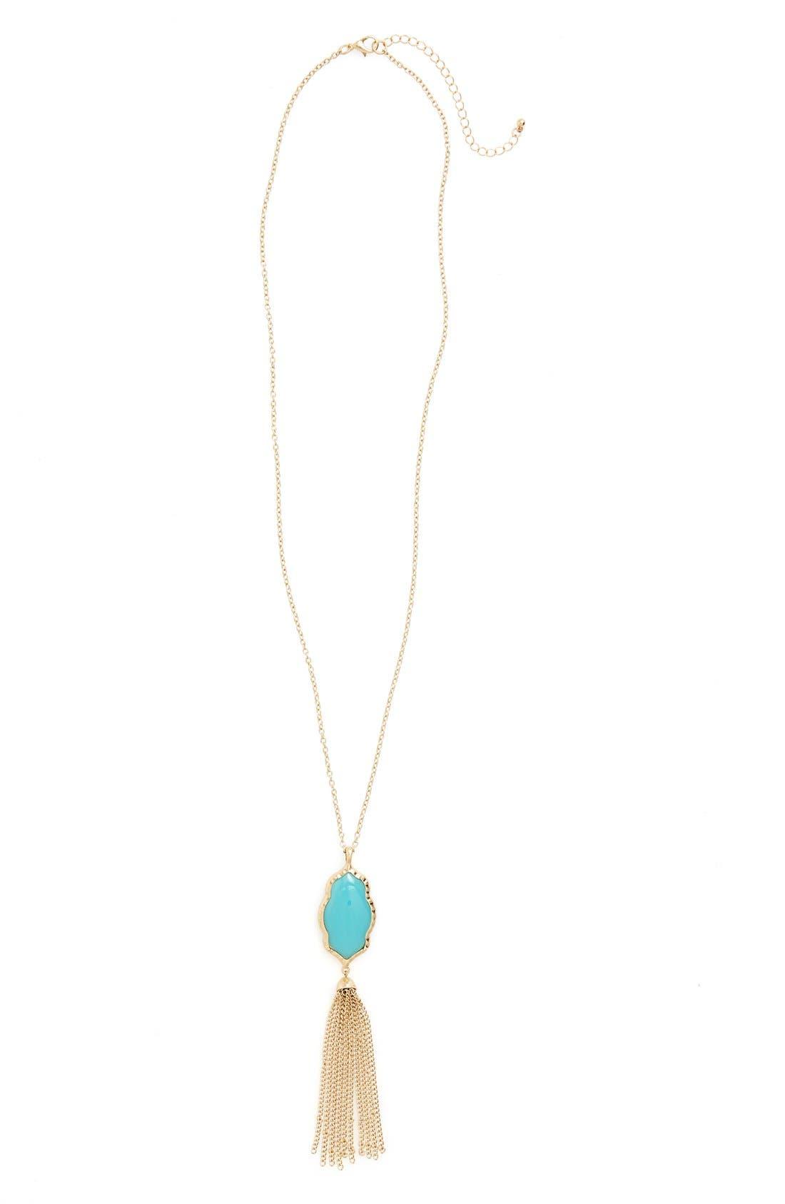 Stone Fringe Pendant Necklace,                         Main,                         color, Turquoise/ Gold