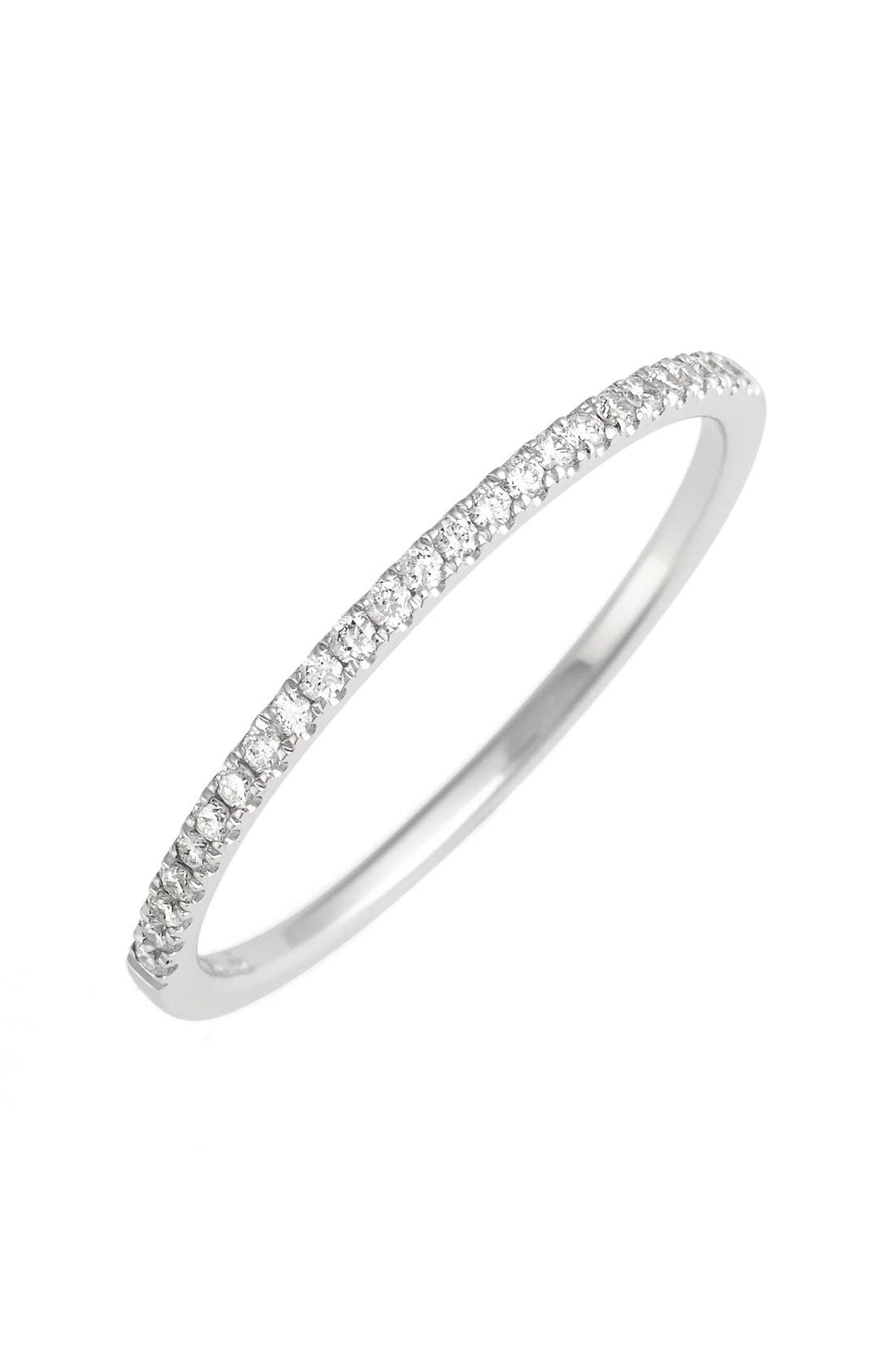 'Stackable' Straight Diamond Band Ring,                         Main,                         color, White Gold