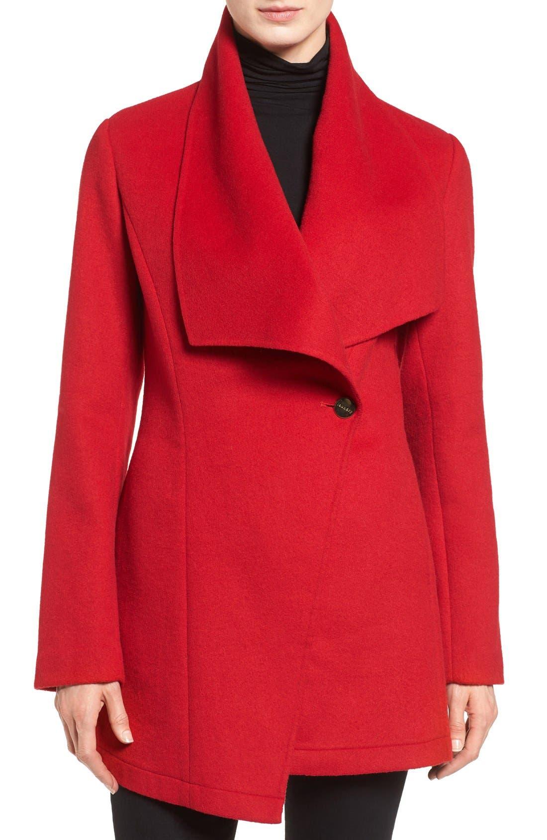 Double Face Drape Collar Coat,                         Main,                         color, Red