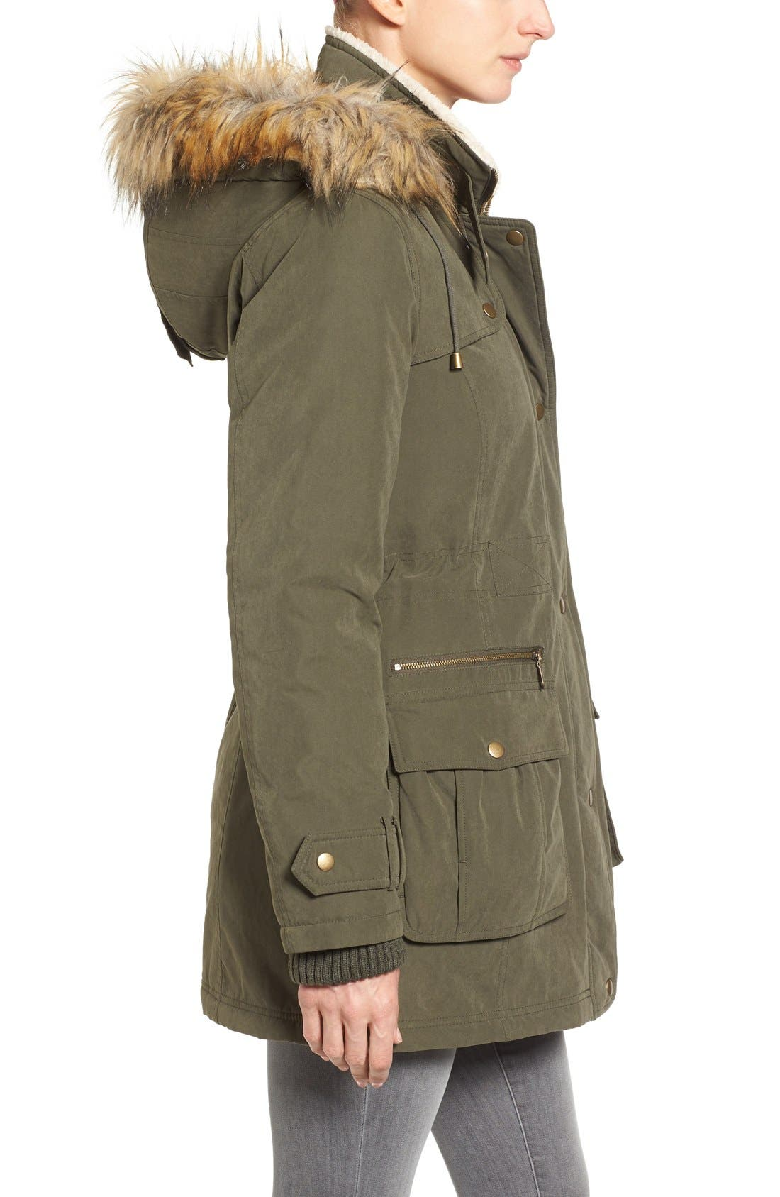 Hooded Anorak with Faux Fur Trim,                             Alternate thumbnail 5, color,                             Olive