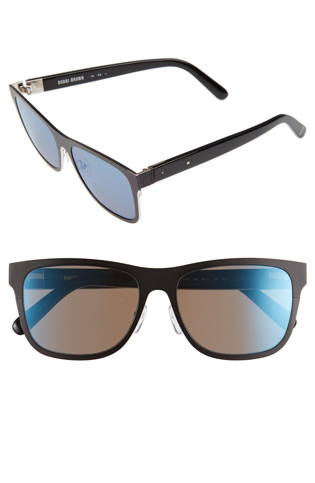 'The Zach' 56mm Retro Sunglasses,                         Main,                         color, Matte Black