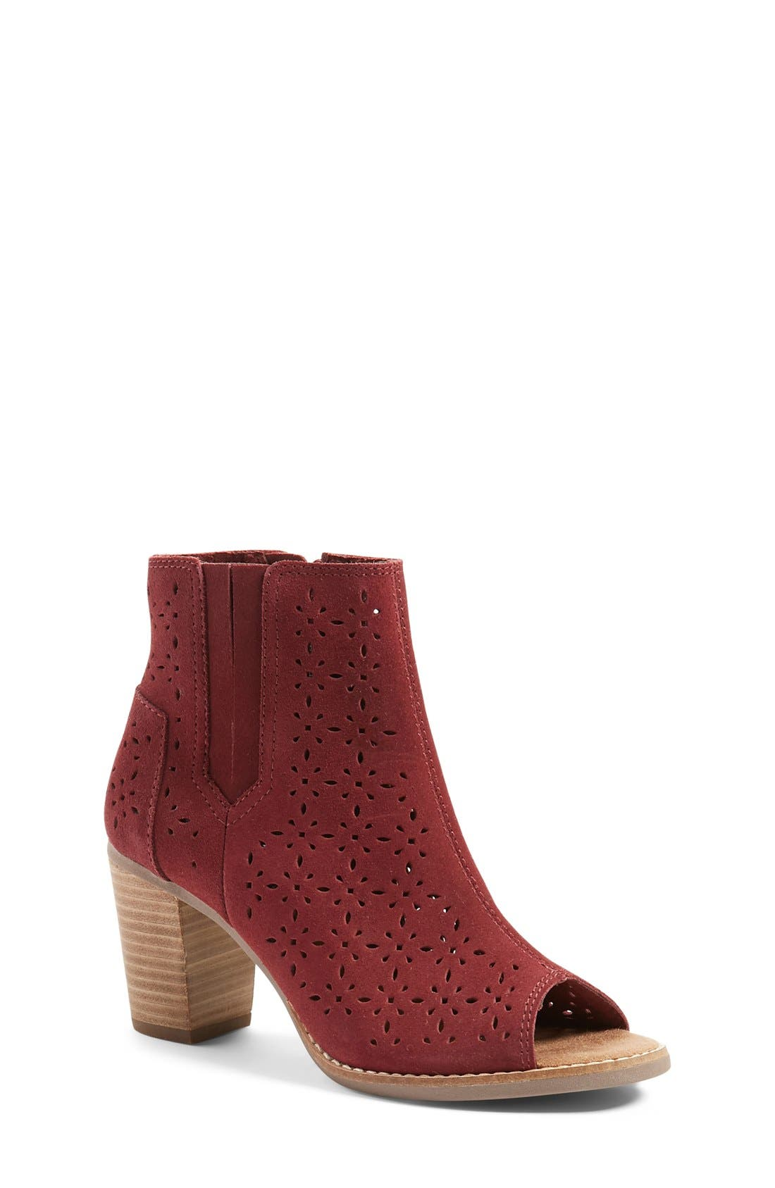 'Majorca' Peep Toe Bootie,                             Main thumbnail 1, color,                             Burgundy Suede