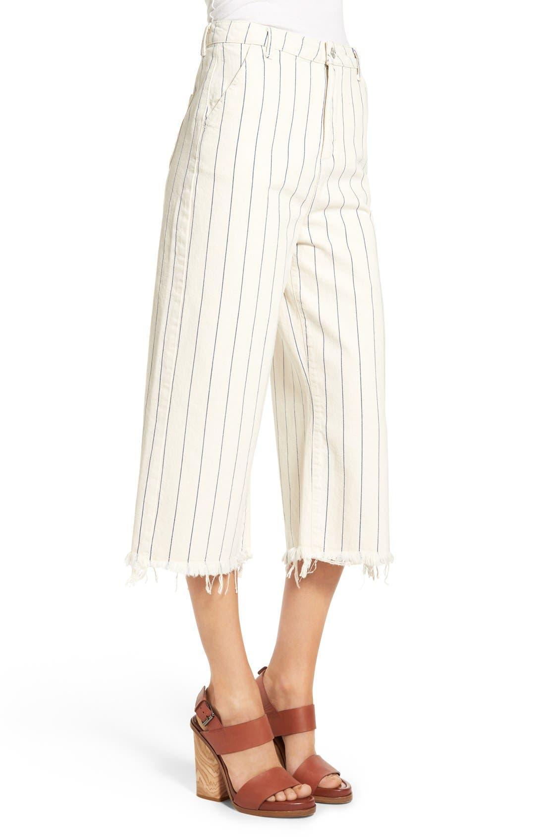 Alternate Image 3  - Topshop Pinstripe Frayed Culottes