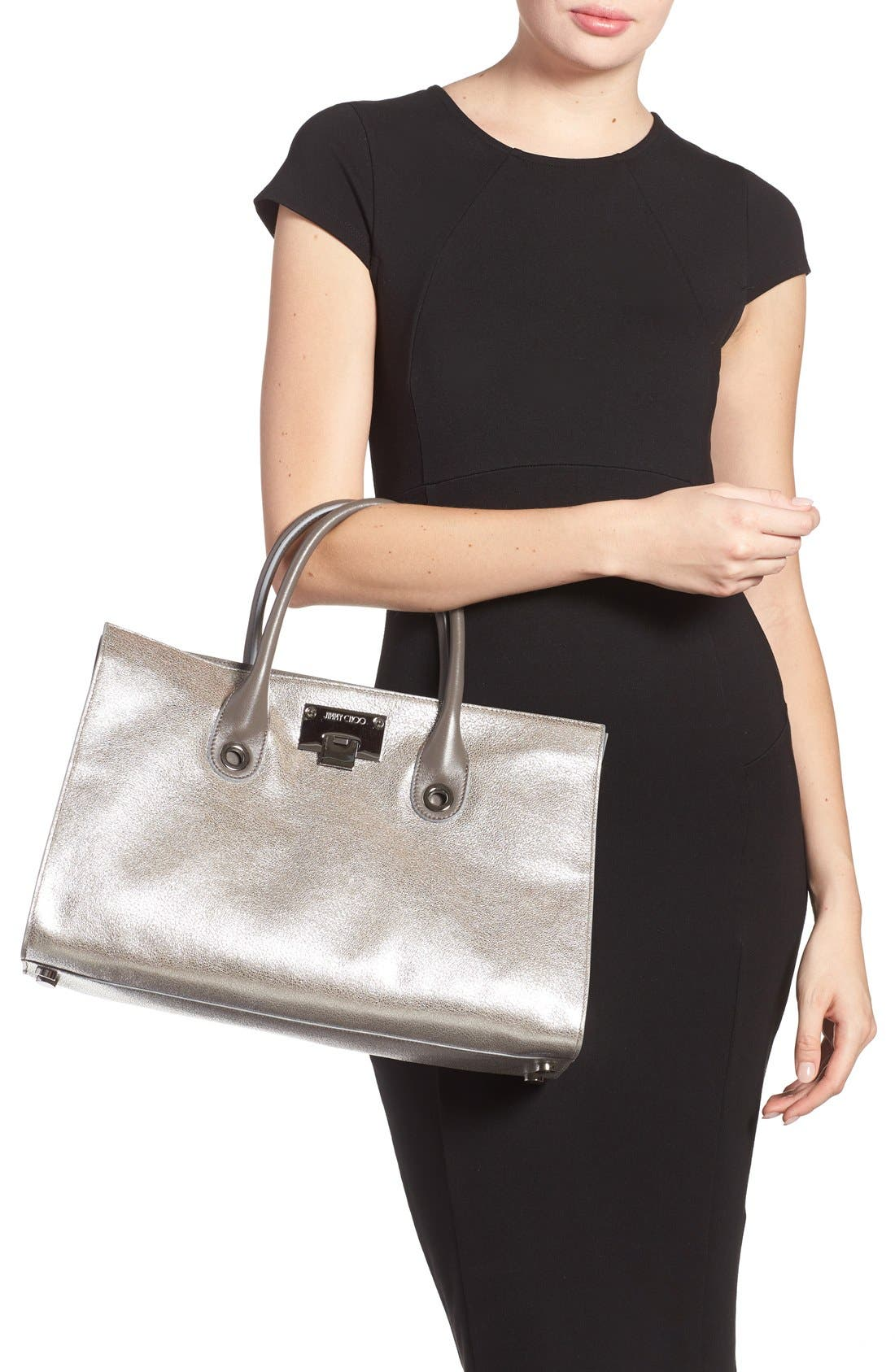 Alternate Image 2  - Jimmy Choo 'Riley' Metallic Goatskin Leather Tote