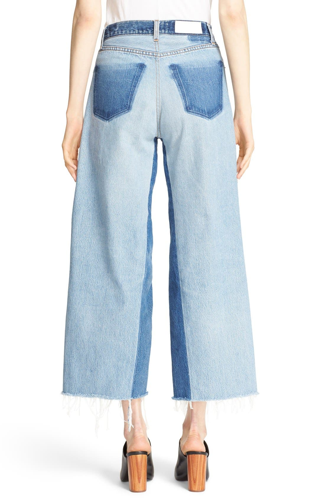 'The High Rise Wide Leg' Reconstructed Jeans,                             Alternate thumbnail 2, color,                             Denim Patch