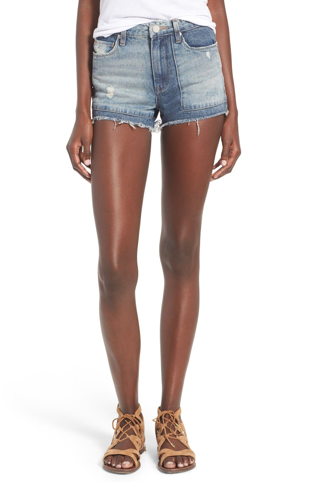 Alternate Image 1 Selected - BLANKNYC Distressed Cutoff Denim Shorts (Rough Patch)