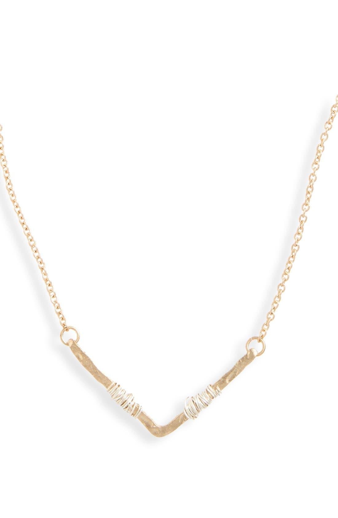 Wire Wrap Chevron Pendant Necklace,                             Alternate thumbnail 2, color,                             Gold