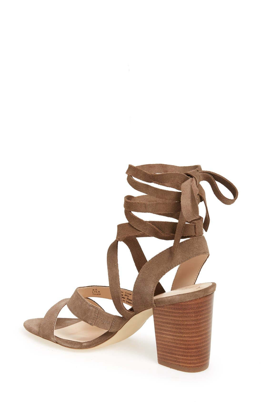'Lyla' Lace-Up Sandal,                             Alternate thumbnail 2, color,                             Taupe