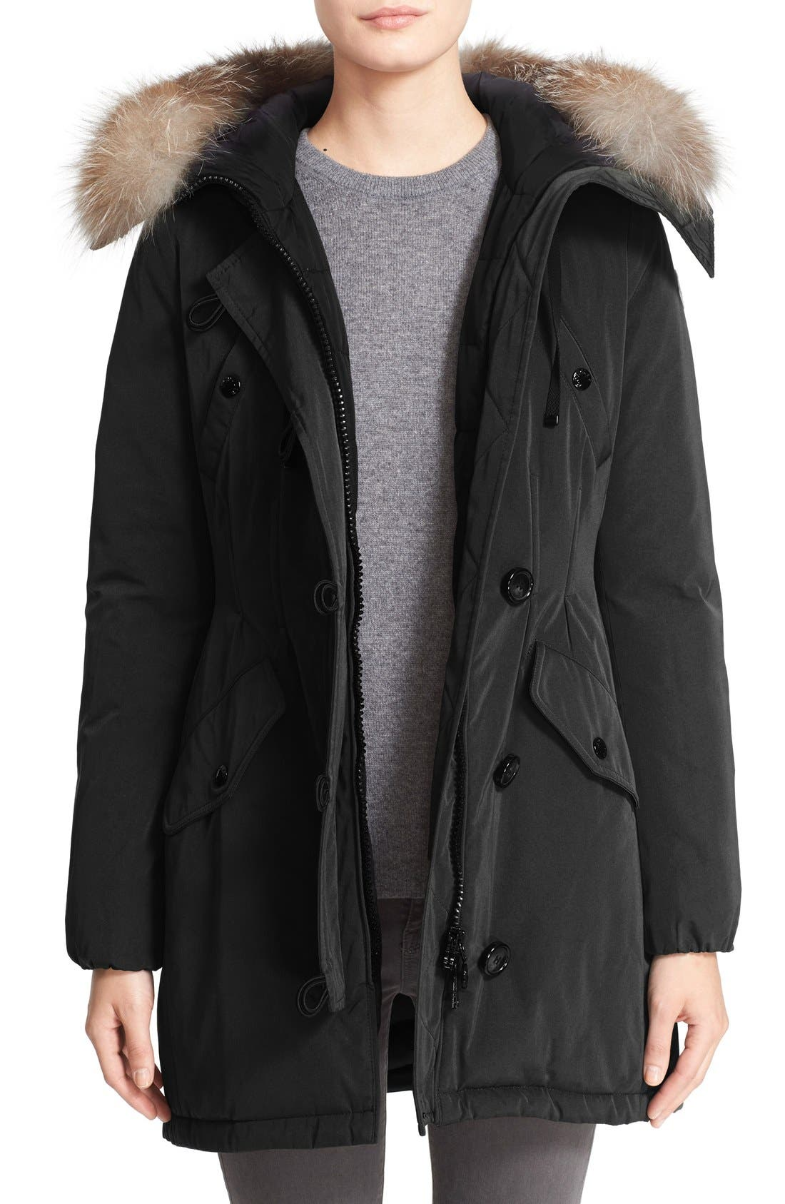 Moncler Aredhel Hooded Down Parka with Removable Genuine Fox Fur Trim