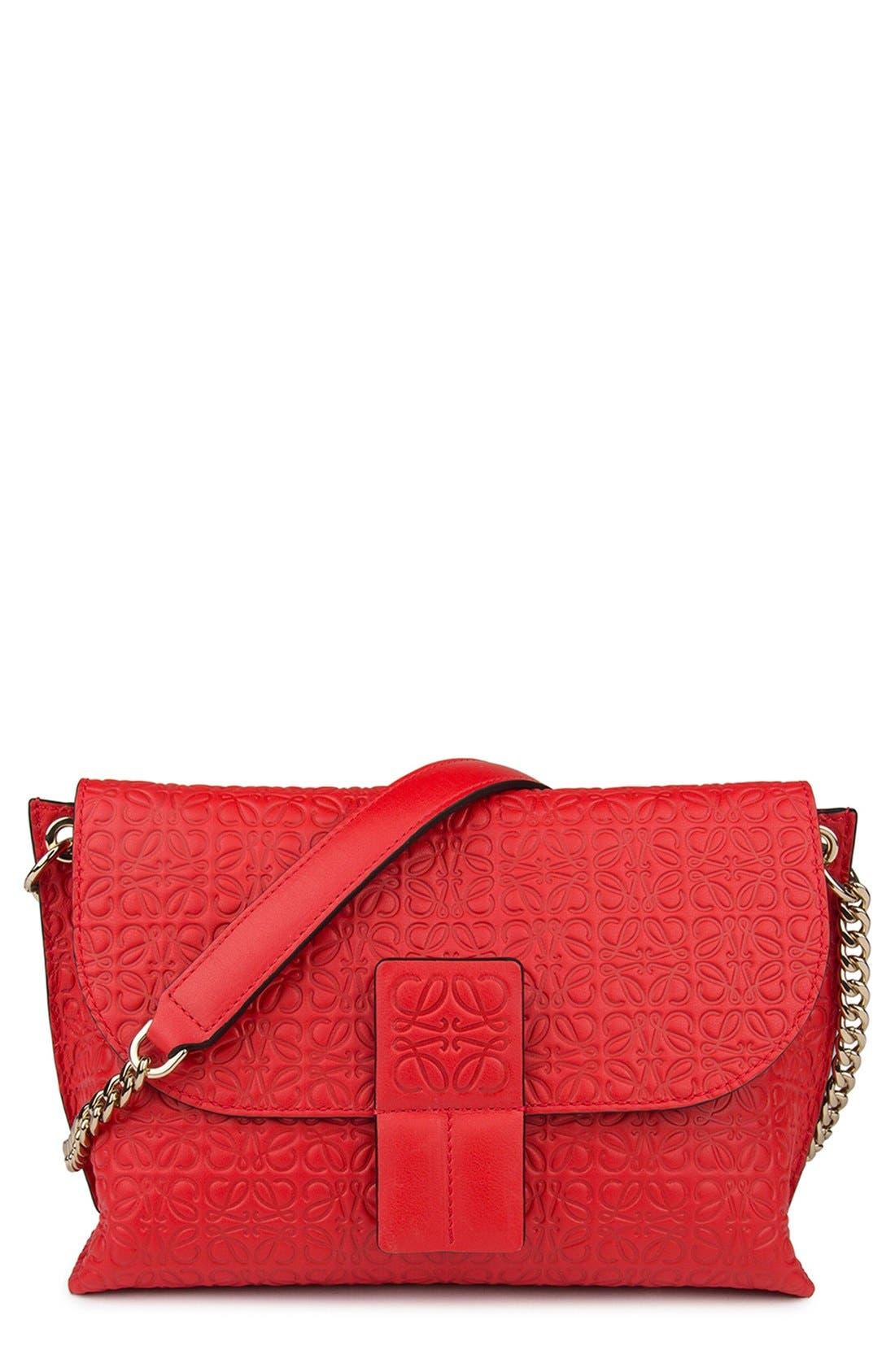 LOEWE Avenue Embossed Calfskin Leather Crossbody Bag