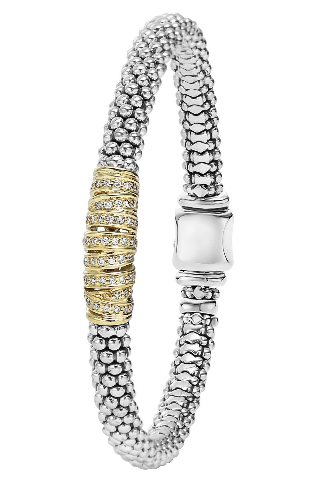 'Diamonds & Caviar' Diamond Bracelet,                             Alternate thumbnail 3, color,                             Sterling Silver/ Gold