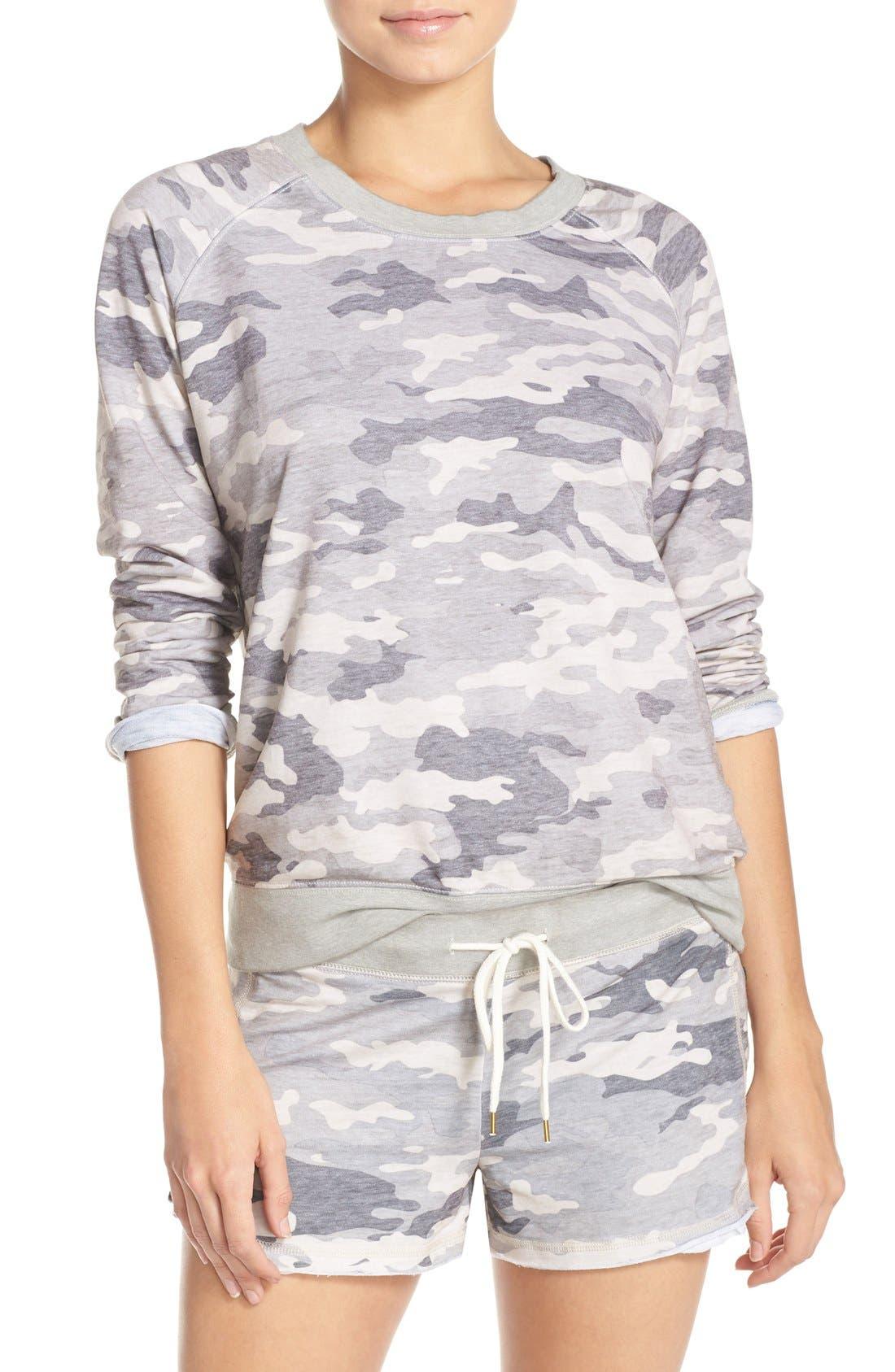 Burnout Lounge Sweatshirt,                         Main,                         color, Grey Camo