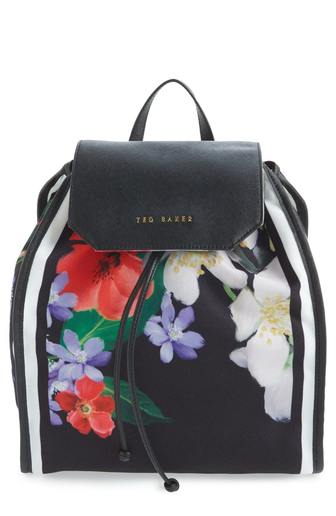 Main Image - Ted Baker London 'Encyclopedia' Textile Drawstring Backpack