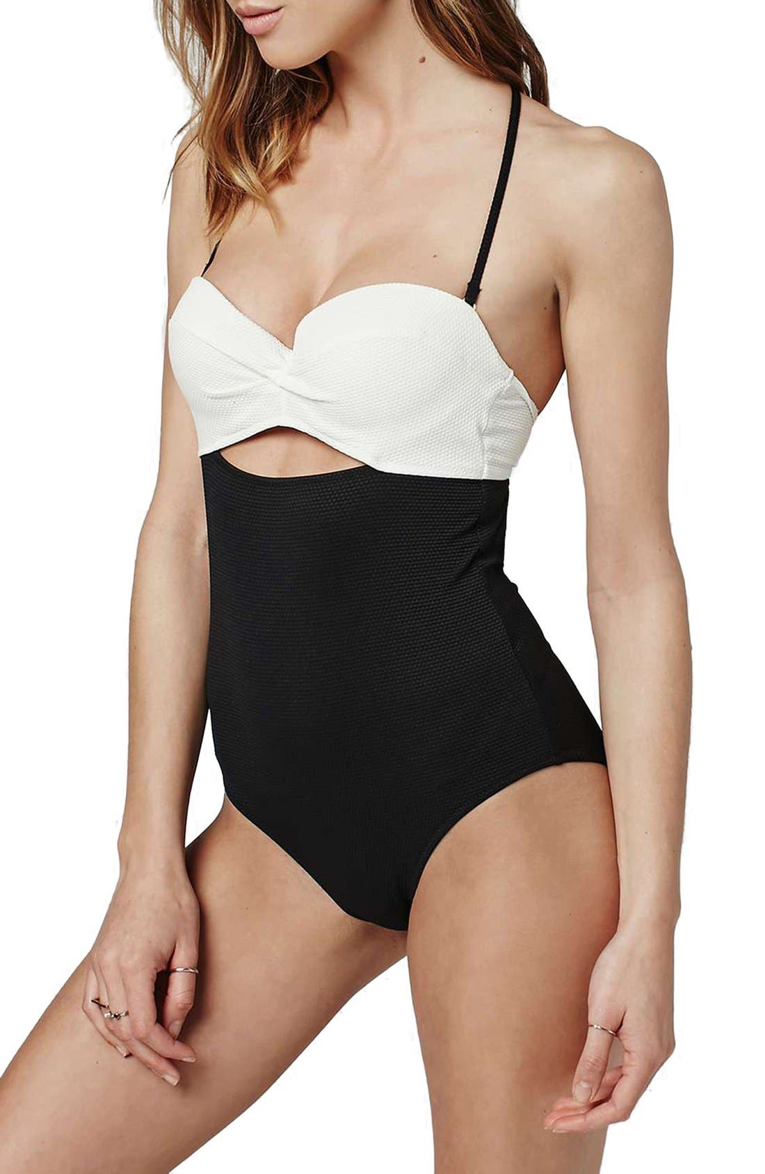 Main Image - Topshop Colorblock Halter One-Piece Swimsuit