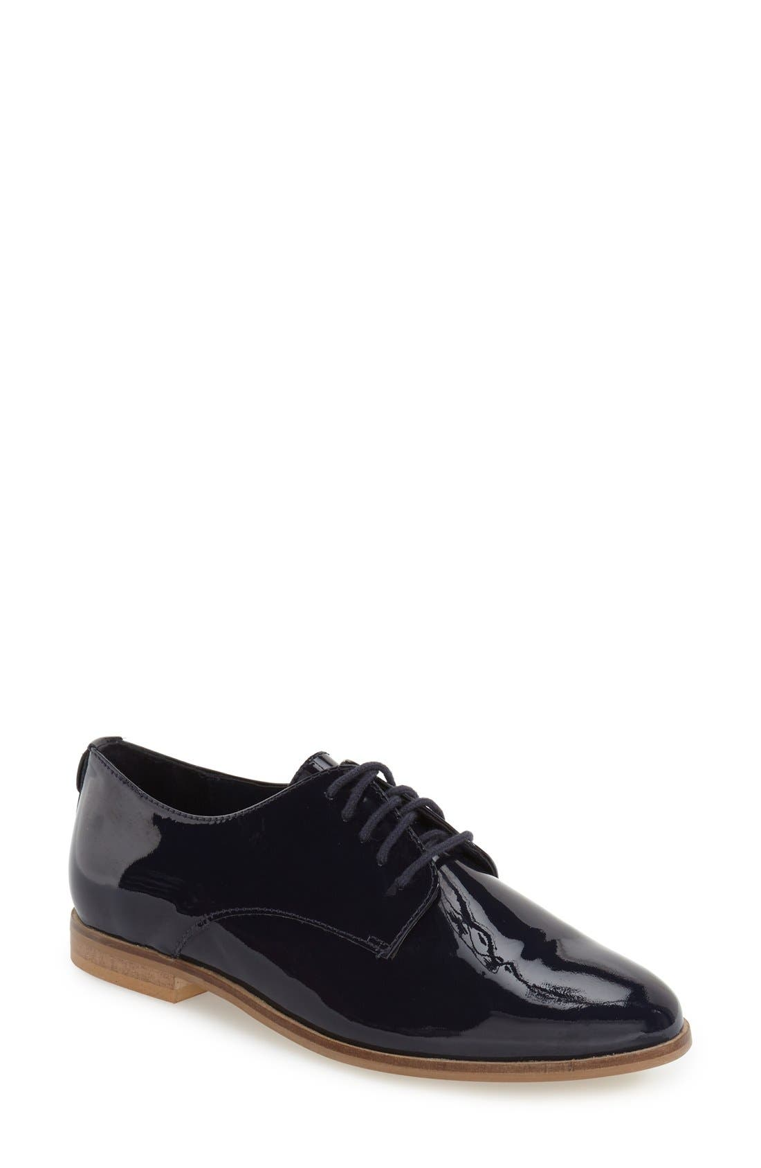 'Flossy' Patent Leather Oxford,                             Main thumbnail 1, color,                             Navy Patent Leather