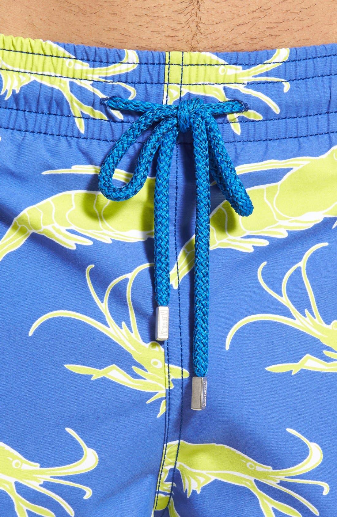 'Moorea' Shrimp Swim Trunks,                             Alternate thumbnail 4, color,                             Celestial Blue