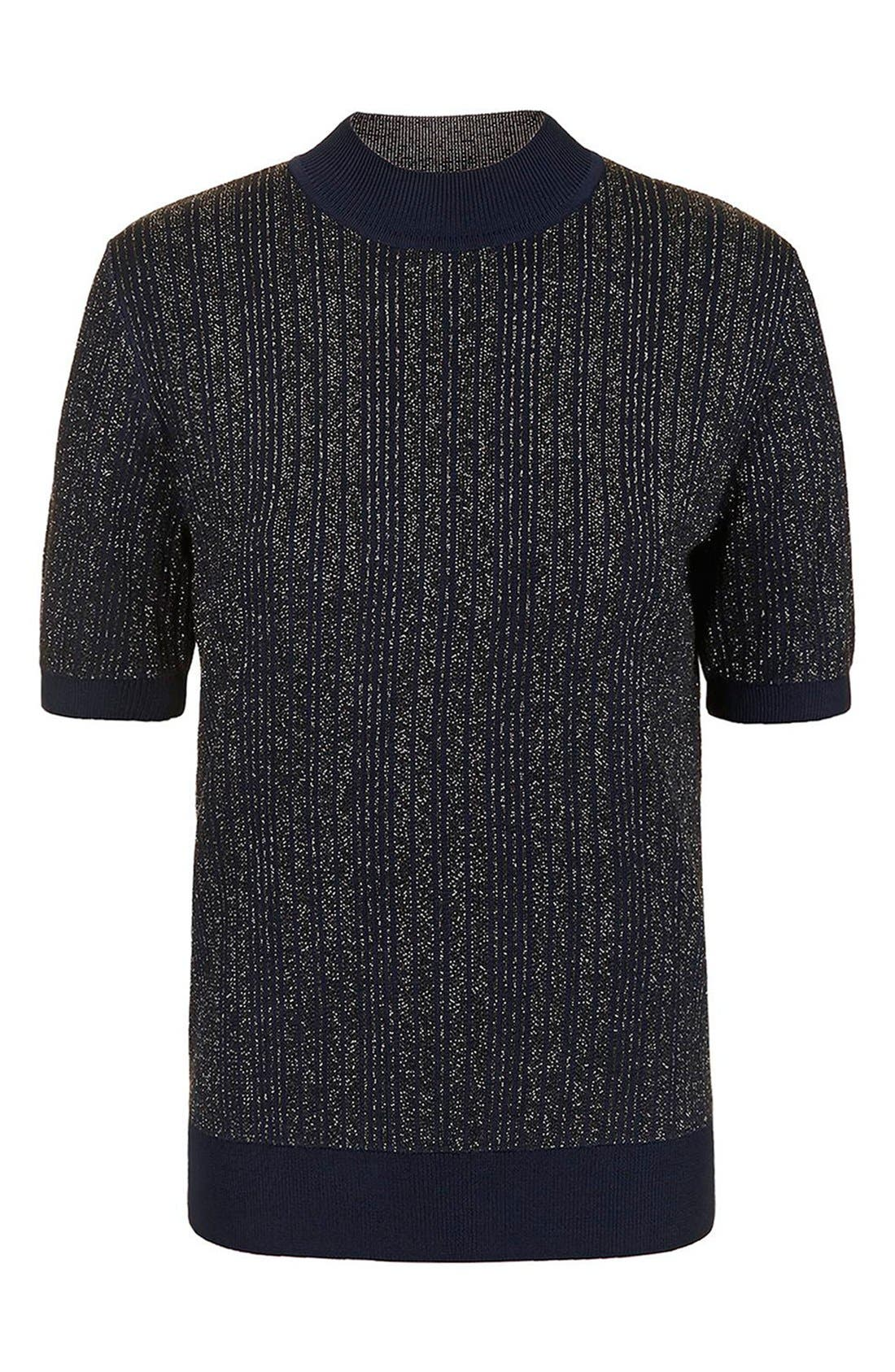 Alternate Image 5  - Topshop Unique 'Lamont' Short Sleeve Metallic Stripe Sweater