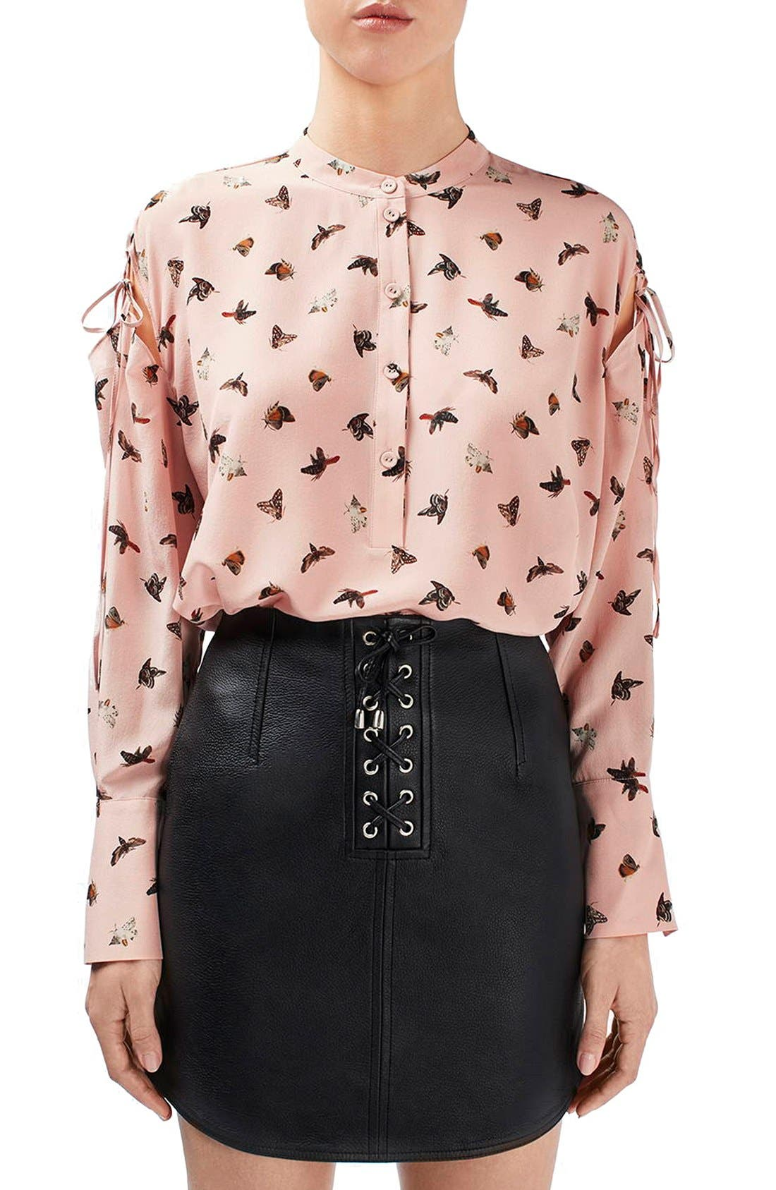 Main Image - Topshop Unique 'Campion' Butterfly Print Silk Blouse