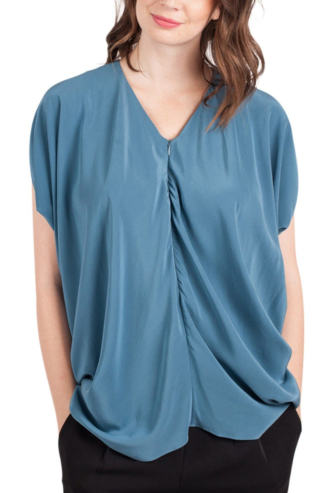 Crêpe de Chine Maternity/Nursing Tunic,                         Main,                         color, Slate Blue