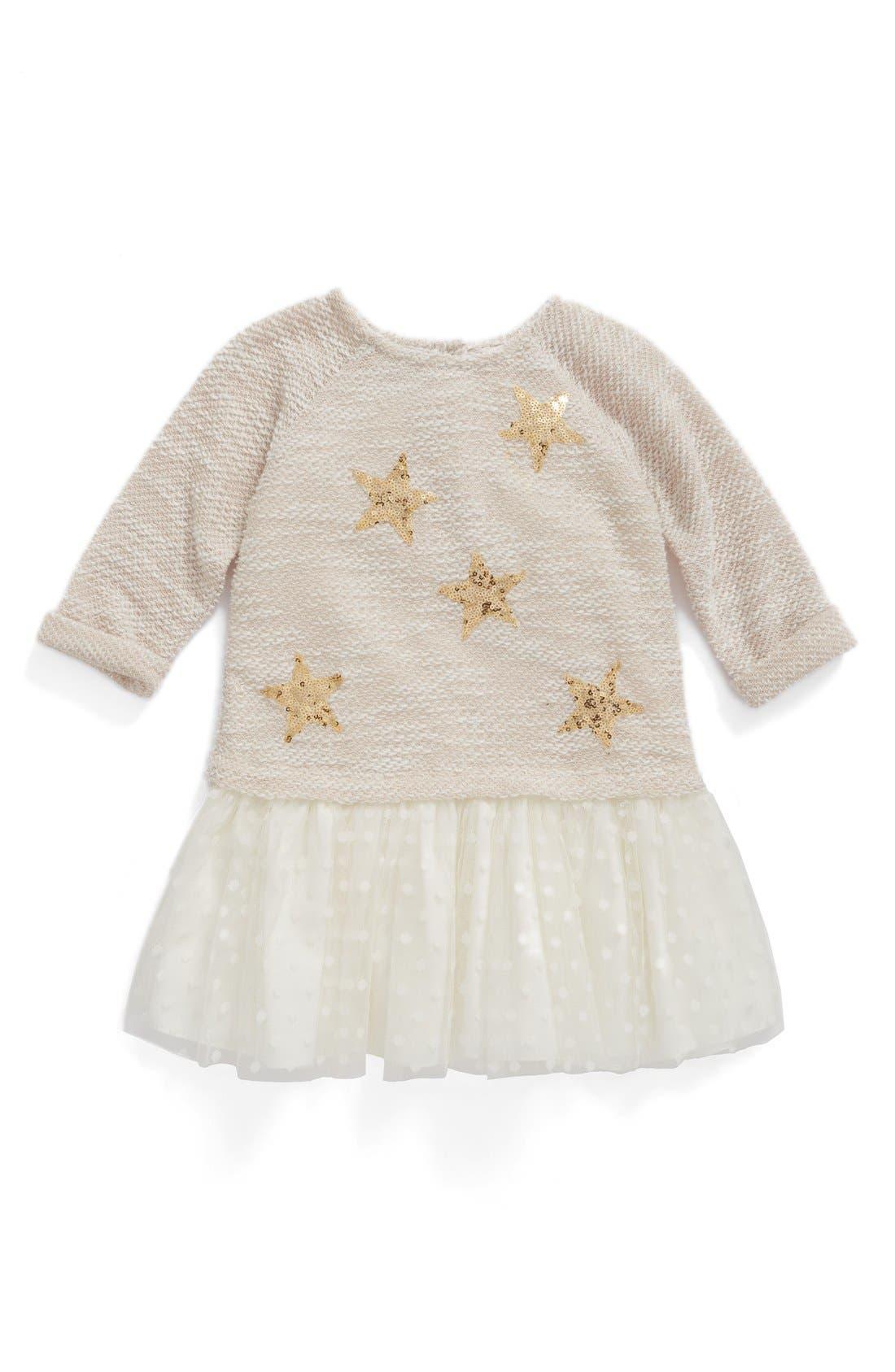 Main Image - Pippa & Julie Sequin Star Drop Waist Dress (Baby Girls)