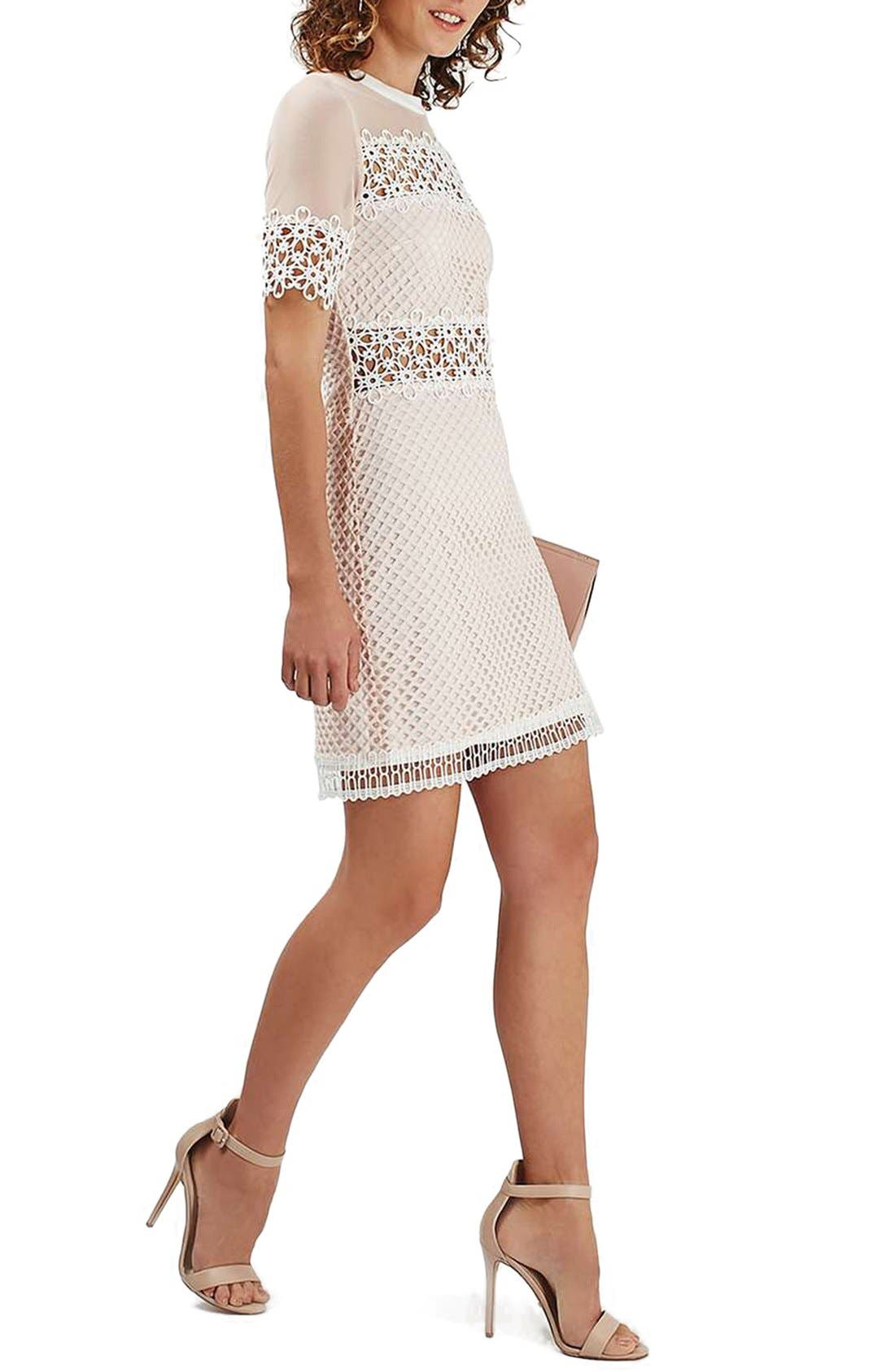 Main Image - Topshop Mesh & Lace A-Line Dress