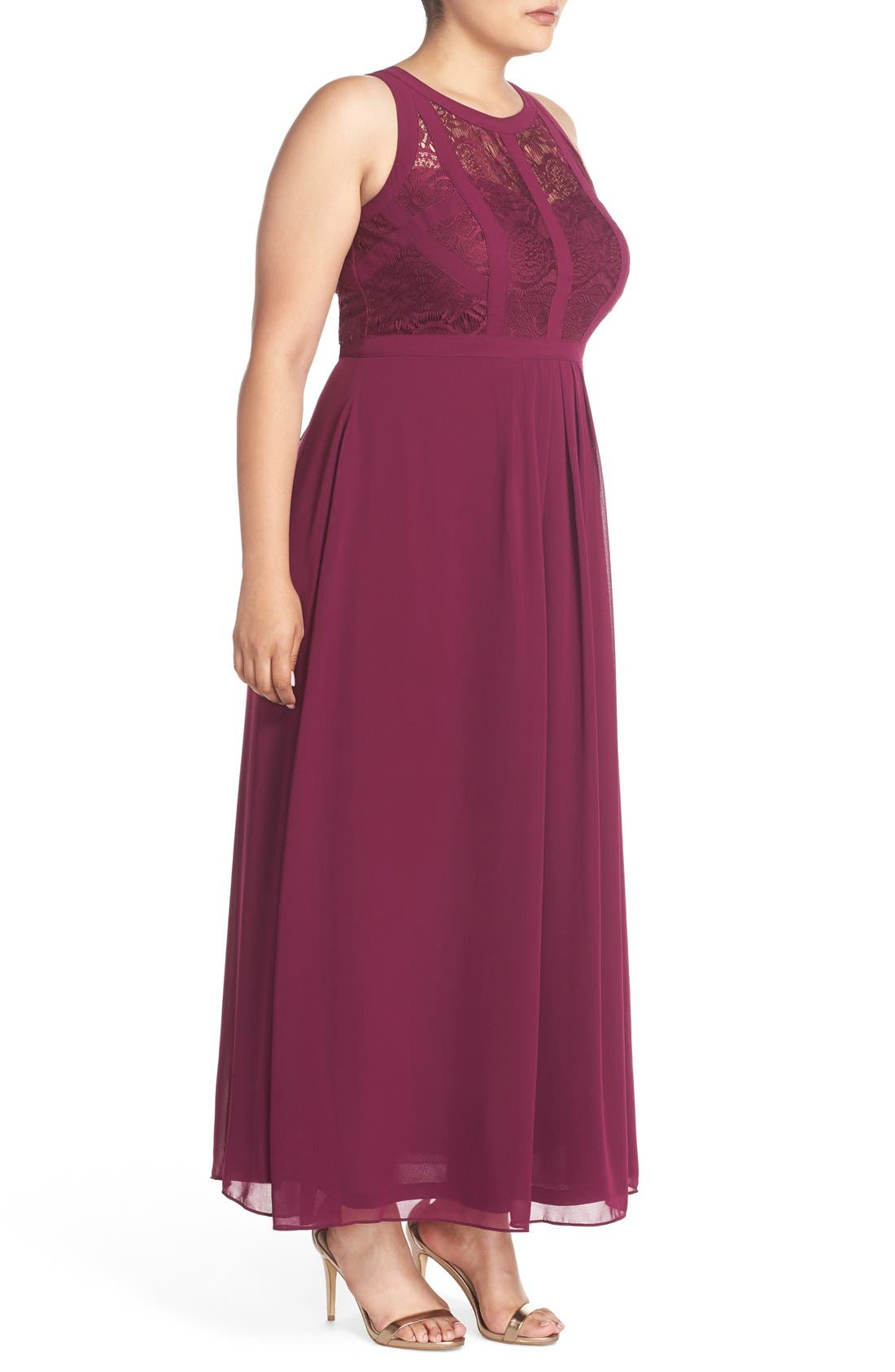 Alternate Image 3  - City Chic Paneled Lace Bodice Gown (Plus Size)