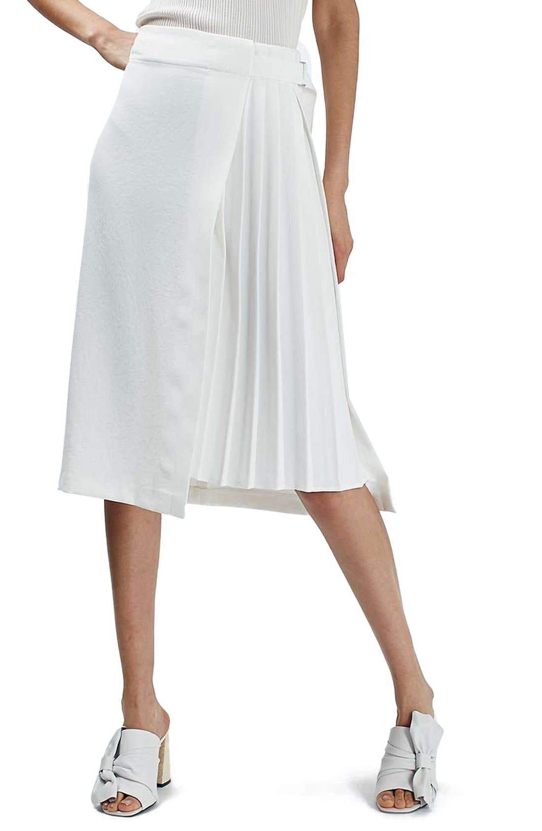Pleat Detail Wrap Midi Skirt,                         Main,                         color, Ivory