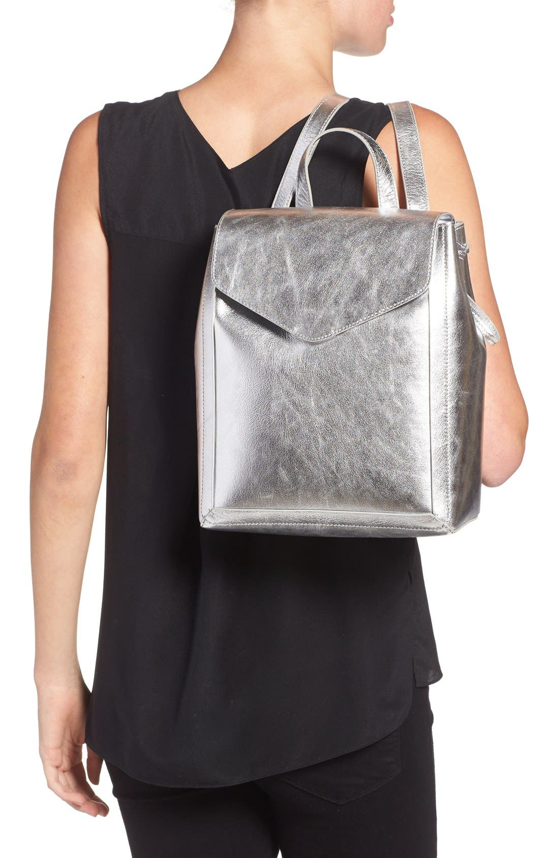 Alternate Image 2  - Loeffler Randall Mini Metallic Leather Backpack