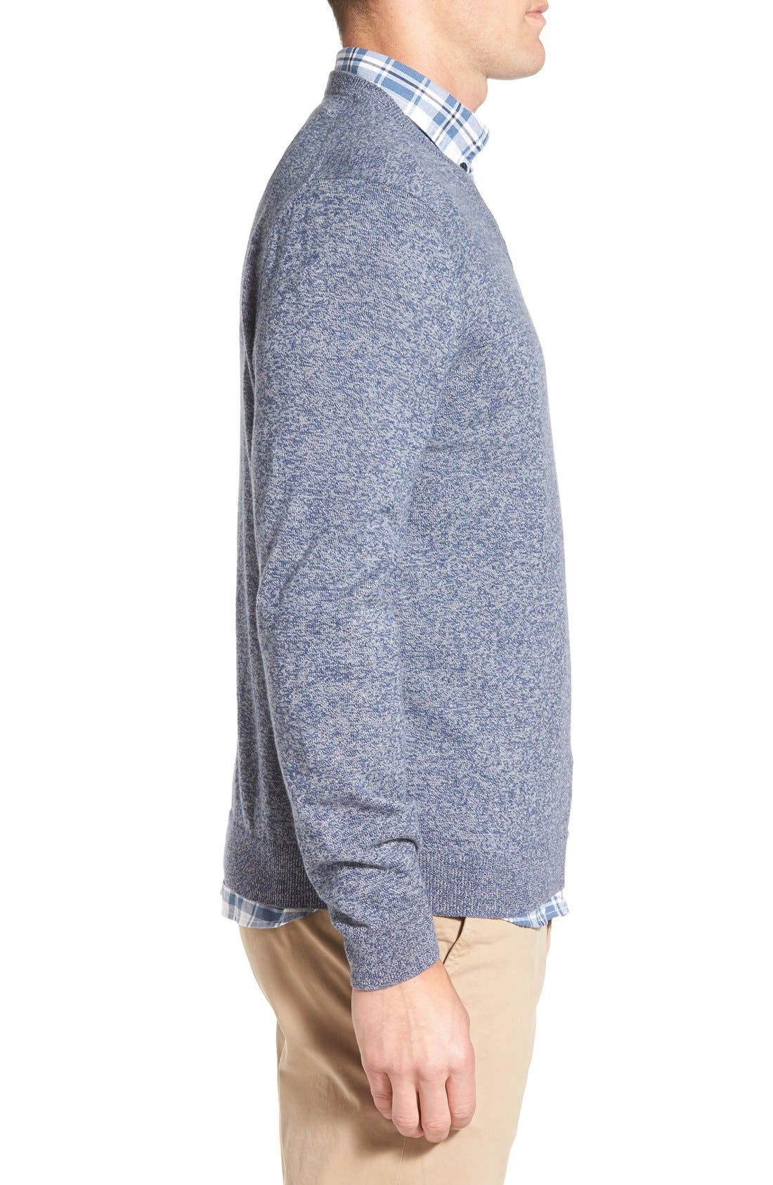 Cotton & Cashmere V-Neck Sweater,                             Alternate thumbnail 3, color,                             Blue Estate Jaspe