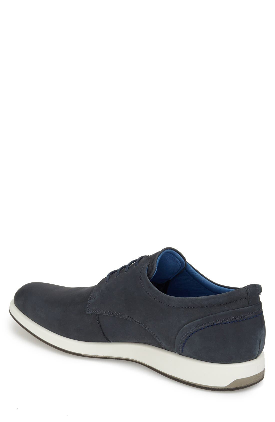 'Jared' Leather Oxford,                             Alternate thumbnail 2, color,                             Navy Leather